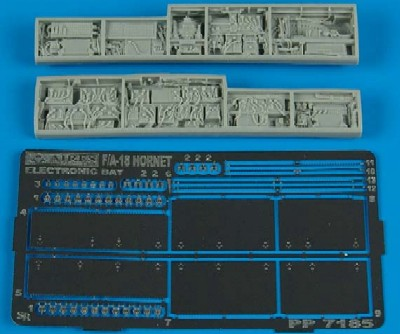 Aires Hobby 7185 1:72 F/A18 Electronic Bay For HSG This is a 1:72 F/A18 Electronic Bay for Hasegawa Model kit accessory from Aires Hobby.Condition: Factory NewOperational Status: FunctionalThis item is brand new from the factory.Original Box: YesManufacturer: Aires HobbyModel Number: 7185MSRP: $13.99Category 1: Model KitsCategory 2: AccessoriesAvailability: Ships in 3 to 5 Business Days.The Trainz SKU for this item is P12008926. Track: 12008926 - FS - 001 - TrainzAuctionGroup00UNK - TDIDUNK
