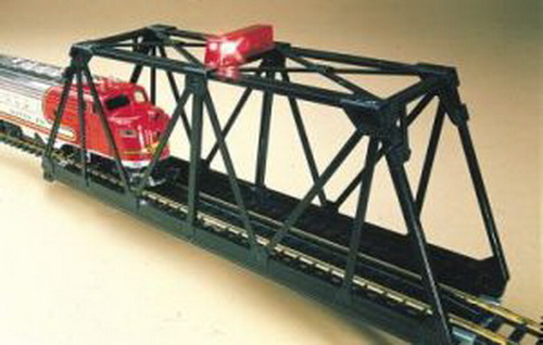 Bachmann 46904 N Steel Through-Truss Bridge w/ Blinking Red Light This is Bachmann 46904 N Steel Through-Truss Bridge w/ Blinking Red Light. You can add sound, lights, and accent pieces to your railroad with our extensive selection of operating accessories. Red light flashed on top of bridge. Track included on bridge. Length: approx. 4-1/4 (107.95mm) Width: approx. 1-3/8 (34.92mm) Height: approx. 2-1/4 (57.15mm).Condition: Factory New (C-9All original; unused; factory rubs and evidence of handling, shipping and factory test run.Standards for all toy train related accessory items apply to the visual appearance of the item and do not consider the operating functionality of the equipment.Condition and Grading Standards are subjective, at best, and are intended to act as a guide. )Operational Status: FunctionalThis item is brand new from the factory.Original Box: Yes (P-9May have store stamps and price tags. Has inner liners.)Manufacturer: BachmannModel Number: 46904MSRP: $27.00Scale/Era: N ScaleModel Type: AccessoriesAvailability: Ships in 2 Business Days!The Trainz SKU for this item is P11461965. Track: 11461965 - 1012-B (Suite 2740-200)  - 001 - TrainzAuctionGroup00UNK - TDIDUNK