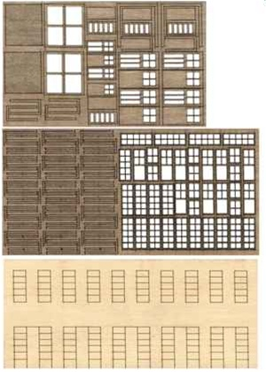 Bar Mills 31 N Laser-Cut Modular Structure Kit The 1-Kit This is an Bar Mills 31 N Scale Laser-Cut Modular Structure Kit The 1-Kit(TM) Create one-of-a-kind buildings for your railroad with this unique product. The 1-Kit takes you beyond the limits of traditional kits that only model a specific building. It provides you with a set of basic basswood parts that can be modified in an almost endless variety of ways to scratchbuild just about any kind of wooden structure. You can also adapt them or combine them with wood, metal and plastic parts from other kits. The basic 2-story wall sections (kit includes four) feature clapboard siding on the front and partially laser-cut window and door openings on the rear. Simply cut the wall sections to size or combine sections for multi-story buildings and remove openings to add doors or windows where you want them. Separate laser-cut windows can be assembled in the stock 10-pane style, or easily modified to smaller configurations. You can also model windows open or closed for a new level of detail. Separate people doors (both with and without windows; five doors total) and two styles of larger freight doors are also included. All doors and windows assemble in layers and feature separate frames so multi-color paint jobs are a snap. Each 1-Kit also includes a set of printed paper signs, stripwood interior bracing and clear acetate glass for windows. All you need to add is your favorite roofing material and any detail parts to complete your model. A 15 page how-to manual takes you through all of the cutting and assembly steps, each of which is illustrated with clear black and white photos. Lots of assembly hints and ideas are also provided.Condition: Factory New (C-9All original; unused; factory rubs and evidence of handling, shipping and factory test run.Standards for all toy train related accessory items apply to the visual appearance of the item and do not consider the operating functionality of the equipment.Condition and Grading