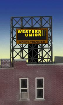 Miller Engineering 338940 N/Z Western Union Animated Rooftop Billboard This is a Miller Engineering 338940 N/Z Scales Western Union Animated Rooftop Billboard Small. Limited edition small N/Z scale animated billboard sign. Great addition to your layout or a diorama. Kit includes: Electroluminescence sign lamp Power supply (requires 3 AAA batteries - not included) Photo-etched supports Complete instructions Dimensions (frame size): 1.35 high x 1 wide Runs on 3 AAA batteries, or 4.5v DC AC wall adapter power supply, or AD/DC power converter (sold separately).Condition: Factory New (C-9All original; unused; factory rubs and evidence of handling, shipping and factory test run.Standards for all toy train related accessory items apply to the visual appearance of the item and do not consider the operating functionality of the equipment.Condition and Grading Standards are subjective, at best, and are intended to act as a guide. )Operational Status: FunctionalThis item is brand new from the factory.Original Box: Yes (P-9May have store stamps and price tags. Has inner liners.)Manufacturer: Miller EngineeringModel Number: 338940Road Name: Western UnionMSRP: $22.95Scale/Era: N ScaleModel Type: AccessoriesAvailability: Ships in 2 Business Days!The Trainz SKU for this item is P11984693. Track: 11984693 - No Location Assigned - 001 - TrainzAuctionGroup00UNK - TDIDUNK