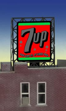 Miller Engineering 338945 N/Z 7Up Rooftop Sign This is a Miller Engineering 338945 N/Z Scales 7Up Rooftop Sign. Limited edition small N/Z scale animated billboard sign. Great addition to your layout or a diorama. Kit includes: Electroluminescence sign lamp Power supply (requires 3 AAA batteries - not included) Photo-etched supports Complete instructions Dimensions (frame size): 1.35 high x 1 wide Runs on 3 AAA batteries, or 4.5v DC AC wall adapter power supply, or AD/DC power converter (sold separately).Condition: Factory New (C-9All original; unused; factory rubs and evidence of handling, shipping and factory test run.Standards for all toy train related accessory items apply to the visual appearance of the item and do not consider the operating functionality of the equipment.Condition and Grading Standards are subjective, at best, and are intended to act as a guide. )Operational Status: FunctionalThis item is brand new from the factory.Original Box: Yes (P-9May have store stamps and price tags. Has inner liners.)Manufacturer: Miller EngineeringModel Number: 338945Road Name: 7UpMSRP: $22.95Scale/Era: N ScaleModel Type: AccessoriesAvailability: Ships in 2 Business Days!The Trainz SKU for this item is P11984804. Track: 11984804 - 4028-F (Suite 2730-100)  - 001 - TrainzAuctionGroup00UNK - TDIDUNK