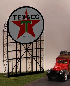 Miller Engineering 5182 N Texaco Animated Billboard This is a Miller Engineering 5182 N Scale Texaco Animated Neon Billboard Small - 2-5/16 x 4 5.9 x 10.2cm. Great addition to your layout or a diorama. Approx. 4 inches high x 2.3 inches wide. Kit includes: Electroluminescence sign, Power supply (requires 3 AAA batteries - not included), Complete instructions. Runs on 3 AAA batteries (not included) or #4802 4.5v DC power supply (sold separately). Car in the picture is not included.Condition: Factory New (C-9All original; unused; factory rubs and evidence of handling, shipping and factory test run.Standards for all toy train related accessory items apply to the visual appearance of the item and do not consider the operating functionality of the equipment.Condition and Grading Standards are subjective, at best, and are intended to act as a guide. )Operational Status: FunctionalThis item is brand new from the factory.Original Box: Yes (P-9May have store stamps and price tags. Has inner liners.)Manufacturer: Miller EngineeringModel Number: 5182Road Name: TexacoMSRP: $36.95Scale/Era: N ScaleModel Type: AccessoriesAvailability: Ships in 1 Business Day!The Trainz SKU for this item is P11588993. Track: 11588993 - No Location Assigned - 001 - TrainzAuctionGroup00UNK - TDIDUNK