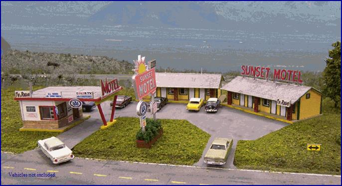 Blair Line 2001 HO Sunset Motel Kit Kit is based on the classic look of a 1950's-1970's motel design that could still be in business today. This type of motel could be found on any well traveled highway in big or small towns alike.Includes an office structure, two 4-room motel units and roadside sign. Flexible design allows the structures to be positioned to fit your available space. Typical arrangements would include straight line like the photo at top of page, angular as shown just above this description or and  L  shape layout (not shown). Office structure is reminiscent of a streamline moderne design. Structure includes tab and slot walls, floor and sub-roof, canopy over driveway, laser cut peel-n-stick windows, door, roofing and trim. Also includes  Motel  rooftop sign and laser etched sidewalks and curb. Optional flagstone wainscot is also provided. Motel units include two identical 4-room structures as shown. Each motel structure features tab and slot clapboard walls (HO) or scribed walls (N), roof and floor. Peel-n-stick doors, windows, gable vents and trim. Peel-n-stick laser-cut printed 3-tab roofing. Decorative porch posts and laser etched sidewalks. And a rooftop  Sunset Motel  sign.Details include a spectacular laser-cut roadside sign and a soda machine. Also included are a great selection of realistic motel signs from the Blair Line photo collection.N scale motel office (including canopy) is 2.62  x 1.80 . Each N scale motel unit is 3.50  x1.50 .HO scale motel office (including canopy) is 5.00  x 3.31 . Each HO scale motel unit is 6.50  x 2.75 Condition: Factory New (C-9All original; unused; factory rubs and evidence of handling, shipping and factory test run.Standards for all toy train related accessory items apply to the visual appearance of the item and do not consider the operating functionality of the equipment.Condition and Grading Standards are subjective, at best, and are intended to act as a guide. )Operational Status: FunctionalThis item