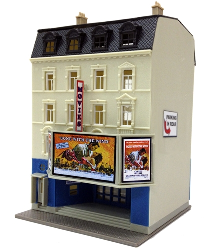 Model Power 1593 N Good View Movie Theater This is Model Power 1593 N Good View Movie Theater. Building kit.Its key features are:Easy to buildMolded in 6 colors NO PAINTING NECESSARY!Easy to follow instruction sheetBase IncludedDimensions: 3.5 L x 3.4 W x 5.1 HCondition: Factory New (C-9All original; unused; factory rubs and evidence of handling, shipping and factory test run.Standards for all toy train related accessory items apply to the visual appearance of the item and do not consider the operating functionality of the equipment.Condition and Grading Standards are subjective, at best, and are intended to act as a guide. )Operational Status: FunctionalThis item is brand new from the factory.Original Box: Yes (P-9May have store stamps and price tags. Has inner liners.)Manufacturer: Model PowerModel Number: 1593MSRP: $25.98Scale/Era: N ScaleModel Type: BuildingsAvailability: Ships in 2 Business Days!The Trainz SKU for this item is P11824715. Track: 11824715 - 4043-D (Suite 2730-100)  - 001 - TrainzAuctionGroup00UNK - TDIDUNK