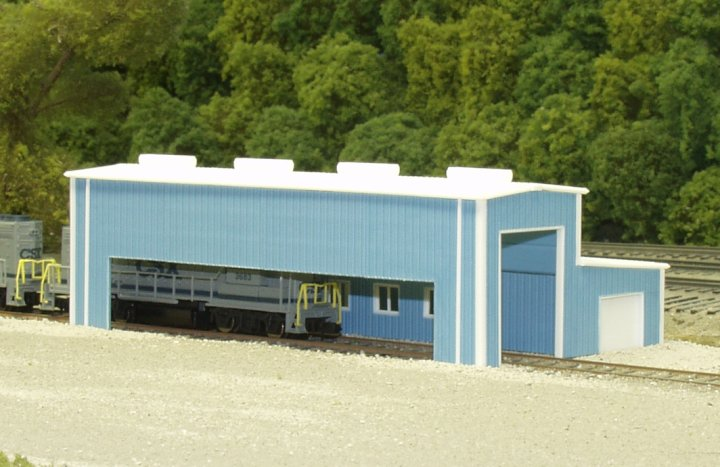 Pikestuff 541-8008 N Scale Atkinson Engine Facility Building Kit This is a Pikestuff 541-8008 N Scale Atkinson Engine Facility 40 x 80' (blue) This kit is designed to build a 24 scale feet high engine facility with a 12' tall office. The side walls have cut lines provided. End walls have engine house door openings provided. Side wall can be modeled with or without large opening in wall. Engine house doors are also provided and can be modeled in the closed position. Includes doors, windows, roof top vents and down spouts. Measures a scale 40 x 80 feet.Condition: Factory New (C-9All original; unused; factory rubs and evidence of handling, shipping and factory test run.Standards for all toy train related accessory items apply to the visual appearance of the item and do not consider the operating functionality of the equipment.Condition and Grading Standards are subjective, at best, and are intended to act as a guide. )Operational Status: FunctionalThis item is brand new from the factory.Original Box: Yes (P-9May have store stamps and price tags. Has inner liners.)Manufacturer: PikestuffModel Number: 541-8008MSRP: $28.95Scale/Era: N ScaleModel Type: BuildingsAvailability: Ships in 2 Business Days!The Trainz SKU for this item is P11516588. Track: 11516588 - No Location Assigned - 001 - TrainzAuctionGroup00UNK - TDIDUNK