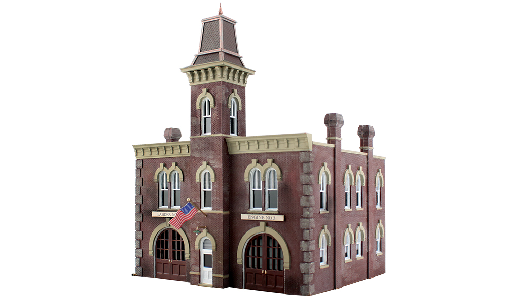 Woodland Scenics PF5212 N Fire Station No. 3 Building Kit This is Woodland Scenics PF5212 N Fire Station No. 3. Architecturally accurate and lots of intricate, molded-in detail. The striking tall tower of the fire station is the area where firemen hung hoses to drain after returning from fighting a fire. Kit details include a wide cornice, curved window caps, an ornate cupola, rooftop duct work and drainage, hinged engine bay doors and interior molding to allow easy installation of wiring for interior light. Includes clear window material. Light not included. Dimensions: 3 19/32'' w x 3 7/32'' d x 4 13/16'' h (9.11cm w x 8.17cm d x 12.2cm h)Condition: Factory New (C-9All original; unused; factory rubs and evidence of handling, shipping and factory test run.Standards for all toy train related accessory items apply to the visual appearance of the item and do not consider the operating functionality of the equipment.Condition and Grading Standards are subjective, at best, and are intended to act as a guide. )Operational Status: FunctionalThis item is brand new from the factory.Original Box: Yes (P-9May have store stamps and price tags. Has inner liners.)Manufacturer: Woodland ScenicsModel Number: PF5212MSRP: $49.99Scale/Era: N ScaleModel Type: BuildingsAvailability: Ships in 1 Business Day!The Trainz SKU for this item is P11984671. Track: 11984671 - No Location Assigned - 001 - TrainzAuctionGroup00UNK - TDIDUNK
