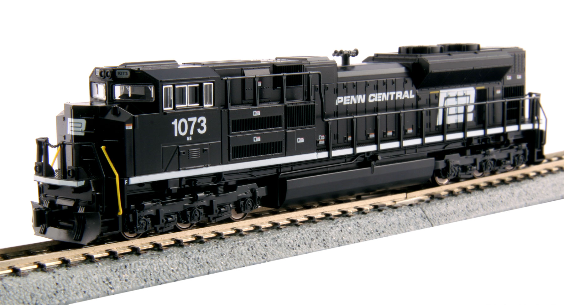 Kato 176-8510 N Norfolk Southern EMD SD70ACe with Norfolk Southern Det This is a Kato USA Inc 1768510 N Scale EMD SD70ACe with Norfolk Southern Details - Standard DC Norfolk Southern #1073 (Penn Central Heritage Scheme, black). The SD70ACe is the latest in the line of EMD's 70 locomotives, an evolution of the SD70MAC, although its radiator design harkens more to that of the SD80/90 body. The SD70ACe has been designed to fit the latest EPA standards and regulations, and sports 4300 horsepower. Heritage units feature unique paint schemes to honor their respective railroads. Models are equipped with prototype accurate bolsterless non-radial HTSC trucks and 5-chime airhorn, powerful 5-pole motor with dual brass flywheels, directional headlight and illuminated, preprinted numberboards plus illuminated ditch lights, Kato magnetic knuckle couplers and DCC-friendly mechanism for easy drop-in decoder installation.Condition: Factory New (C-9All original; unused; factory rubs and evidence of handling, shipping and factory test run.Standards for all toy train related accessory items apply to the visual appearance of the item and do not consider the operating functionality of the equipment.Condition and Grading Standards are subjective, at best, and are intended to act as a guide. )Operational Status: FunctionalThis item is brand new from the factory.Original Box: Yes (P-9May have store stamps and price tags. Has inner liners.)Manufacturer: KatoModel Number: 176-8510MSRP: $135.00Scale/Era: N ScaleModel Type: Diesel LocoAvailability: Ships in 1 Business Day!The Trainz SKU for this item is P11971246. Track: 11971246 - No Location Assigned - 001 - TrainzAuctionGroup00UNK - TDIDUNK