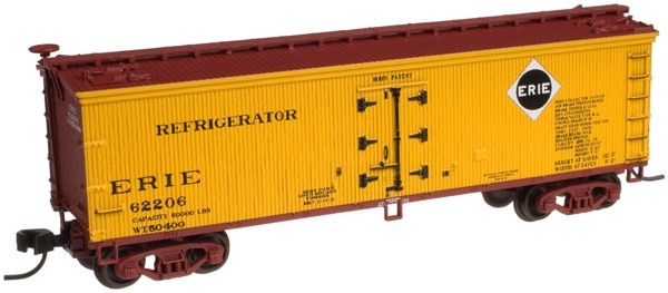 Atlas 50001260 N Erie 40' Wood Reefer #62200 This is Atlas 50001260 N Erie 40' Wood Reefer #62200. This highly detailed model is based on the 40' wood refrigerator cars built by Pullman for the Northern Refrigerator Car Co. in 1930. With its rooftop ice hatches, USRA-style fish belly underframe and vertical brake shaft, it is representative of the thousands of similar cars that were built during the Billboard era of American railroads. These ready-to-run cars feature accurate painting and printing including door hinges, ladders, grab irons and end straps; opening roof hatches; realistic handle and latch detail; wood grain finish detail on car body; and 40-ton friction bearing trucks with AccuMate(R) couplers.Condition: Factory New (C-9All original; unused; factory rubs and evidence of handling, shipping and factory test run.Standards for all toy train related accessory items apply to the visual appearance of the item and do not consider the operating functionality of the equipment.Condition and Grading Standards are subjective, at best, and are intended to act as a guide. )Operational Status: FunctionalThis item is brand new from the factory.Original Box: Yes (P-9May have store stamps and price tags. Has inner liners.)Manufacturer: AtlasModel Number: 50001260Road Name: ErieMSRP: $24.95Scale/Era: N ScaleModel Type: Freight CarsAvailability: Ships in 3 to 5 Business Days.The Trainz SKU for this item is P12152922. Track: 12152922 - FS - 001 - TrainzAuctionGroup00UNK - TDIDUNK