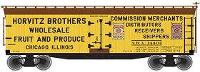Atlas 50001263 N Horvitz Brothers 40' Wood Reefer NWX #14404 This is an Atlas 50001263 N Horvitz Brothers 40' Wood Reefer NWX #14404. This highly detailed model is based on the 40' wood refrigerator cars built by Pullman for the Northern Refrigerator Car Co. in 1930. With its rooftop ice hatches, USRA-style fish belly underframe and vertical brake shaft, it is representative of the thousands of similar cars that were built during the Billboard era of American railroads. These ready-to-run cars feature accurate painting and printing including door hinges, ladders, grab irons and end straps; opening roof hatches; realistic handle and latch detail; wood grain finish detail on car body; and 40-ton friction bearing trucks with AccuMate(R) couplers.Condition: Factory New (C-9All original; unused; factory rubs and evidence of handling, shipping and factory test run.Standards for all toy train related accessory items apply to the visual appearance of the item and do not consider the operating functionality of the equipment.Condition and Grading Standards are subjective, at best, and are intended to act as a guide. )Operational Status: FunctionalThis item is brand new from the factory.Original Box: Yes (P-9May have store stamps and price tags. Has inner liners.)Manufacturer: AtlasModel Number: 50001263Road Name: Horvitz BrothersMSRP: $24.95Scale/Era: N ScaleModel Type: Freight CarsAvailability: Ships in 3 to 5 Business Days.The Trainz SKU for this item is P12153892. Track: 12153892 - FS - 001 - TrainzAuctionGroup00UNK - TDIDUNK