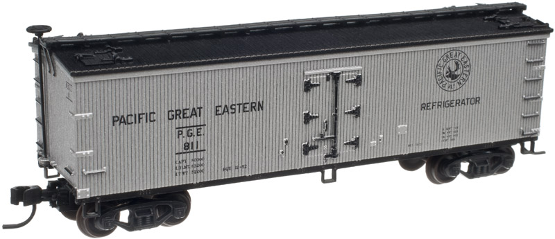 Atlas 50001755 N 40' Wood Reefer, PGE #819 This is Atlas 50001755 N 40' Wood Reefer, PGE #819. 40' wood reefer, Pacific Great Eastern #819. This highly detailed model is based on the 40' wood refrigerator cars built by Pullman for the Northern Refrigerator Car Co. in 1930. With its rooftop ice hatches, USRA-style fish belly underframe and vertical brake shaft, it is representative of the thousands of similar cars that were built during the Billboard era of American railroads.Its key features are:Accurate painting and printing including door hinges, ladders, grab irons and end strapsOpening roof hatchesRealistic handle and latch detailWood grain finish detail on carbodyReady-to-run40-ton friction bearing trucks with AccuMate® couplersCondition: Factory New (C-9All original; unused; factory rubs and evidence of handling, shipping and factory test run.Standards for all toy train related accessory items apply to the visual appearance of the item and do not consider the operating functionality of the equipment.Condition and Grading Standards are subjective, at best, and are intended to act as a guide. )Operational Status: FunctionalThis item is brand new from the factory.Original Box: Yes (P-9May have store stamps and price tags. Has inner liners.)Manufacturer: AtlasModel Number: 50001755MSRP: $26.95Scale/Era: N ScaleModel Type: Freight CarsAvailability: Ships in 3 to 5 Business Days.The Trainz SKU for this item is P11992398. Track: 11992398 - FS - 001 - TrainzAuctionGroup00UNK - TDIDUNK