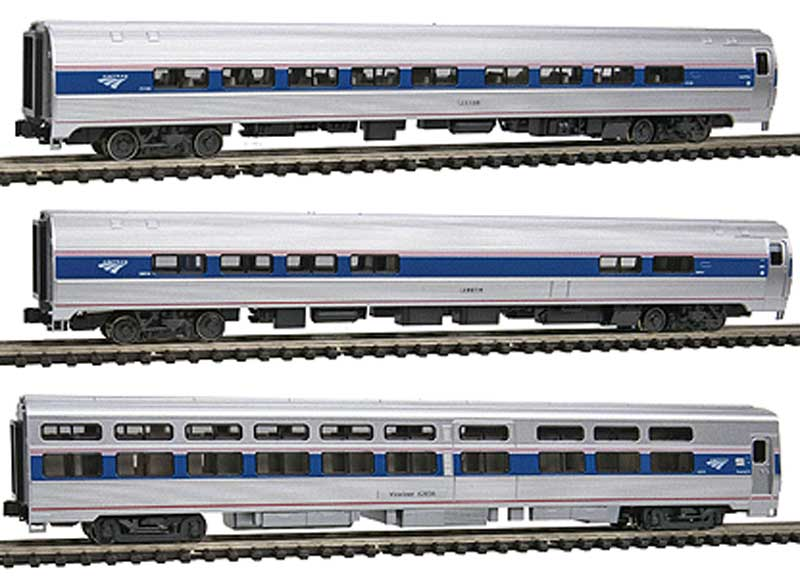 Kato 106-6286 Amtrak (3) N Amfleet/Viewliner Add On This is Kato 106-6286 Amtrak (3) N Amfleet/Viewliner Add On. Kato N scale Amtrak Phase VI Amfleet Viewliner innercity express 3-car set. Modeling the shorter distance (and northeast corridor) Intercity passenger cars, the Amfleet II and Viewliner sleeper, these cars are decorated in Amtrak's most current Phase VI paint scheme (also known as IVb), which marries modern aesthetic simplicity with the traditional Amtrak red, white, and blue stripes.This is a bookcase-style car set containing three individual cars, with the capacity to hold a mix of up to four additional cars or locomotives (7 spaces in total). Modelers can choose to use the extra space to store the contents of the P42 Amfleet Viewliner Intercity Express Starter Series set, or a selection of individually released coaches and sleepers.Set includes:One Amfleet II Coach Amtrak Phase VI #25035One Amfleet II Coach Amtrak Phase VI #25101One Viewliner Sleeper Amtrak Phase VI #620047 slot bookcase that holds both the 3-car set and 4-car starter series set, or any other combination of individual car or locomotive releasesFully detailed interiors can be lit with optional Kato interior lighting kit #11-209/11-210 (sold separately)Condition: Factory New (C-9All original; unused; factory rubs and evidence of handling, shipping and factory test run.Standards for all toy train related accessory items apply to the visual appearance of the item and do not consider the operating functionality of the equipment.Condition and Grading Standards are subjective, at best, and are intended to act as a guide. )Operational Status: FunctionalThis item is brand new from the factory.Original Box: Yes (P-9May have store stamps and price tags. Has inner liners.)Manufacturer: KatoModel Number: 106-6286MSRP: $110.00Scale/Era: N ScaleModel Type: Passenger CarsAvailability: Ships in 1 Business Day!The Trainz SKU for this item is P11634873. Track: 11634873 - No Location Assigned - 001 - Trai