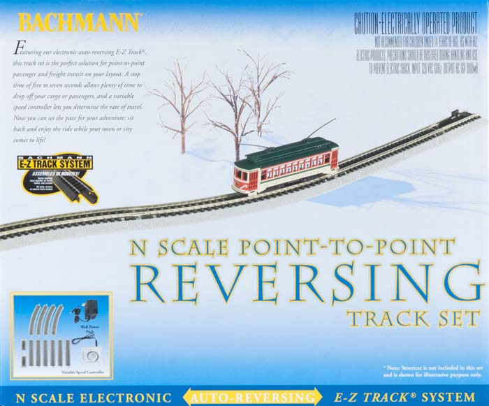 Bachmann 44847 N Auto-Reversing System Nickel Silver Rail & Gray Roadb This is Bachmann 44847 N Auto-Reversing System Nickel Silver Rail & Gray Roadbed. Featuring our electronic auto-reversing E-Z Track®, this track set is the perfect solution for point-to-point passenger and freight transit on your layout. A variable speed controller lets you determine the speed of travel. Add-on sections are also available (Item Nos. 44848 & 44849). Then, sit back and enjoy the ride while your town or city comes to life.Condition: Factory New (C-9All original; unused; factory rubs and evidence of handling, shipping and factory test run.Standards for all toy train related accessory items apply to the visual appearance of the item and do not consider the operating functionality of the equipment.Condition and Grading Standards are subjective, at best, and are intended to act as a guide. )Operational Status: FunctionalThis item is brand new from the factory.Original Box: Yes (P-9May have store stamps and price tags. Has inner liners.)Manufacturer: BachmannModel Number: 44847MSRP: $189.00Scale/Era: N ScaleModel Type: Track/Switches/Etc.Availability: Ships within 3 Business Days!The Trainz SKU for this item is P11642040. Track: 11642040 - 4010-C (Suite 2730-100)  - 001 - TrainzAuctionGroup00UNK - TDIDUNK