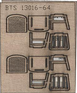 B.T.S. 13016 O Wood Chairs Straight This is a B.T.S. 13016 O Scale Wood Chairs Straight but is scheduled to be Phased Out This product is on-sale today for $11.98 Add commercial traffic to your model railroad. This fully assembled model features a highly detailed die cast body official factory paint colors full interior rubber tires and clear plastic windows and lights. It's an exact replica of licensed commercial vehicles used on US and Canadian roads just before World War II and into the late 1950s. 1941-46 Chevrolet Stakebed Truck Swift Red Brewster Green Smith Mobil Oil Railway Express Agency Pillsbury Feeds DeKalb Seed Company Green Giant Company Sunkist California Fruit Growers Exchange Weyerhaeuser 4 Square Lumber Texaco 1941-46 Chevrolet Dump Truck Swift Red Brewster Green State Highway Department Smith & Sons General Hauling 1941-46 Chevrolet Oil Delivery Tank Truck Texaco 1941-46 Chevrolet Box-Body Delivery Truck Roadway Express True Value Hardware Stores Woolworth's 1941-46 Chevrolet Reefer Truck Oscar Mayer'sCondition: Factory New (C-9All original; unused; factory rubs and evidence of handling, shipping and factory test run.Standards for all toy train related accessory items apply to the visual appearance of the item and do not consider the operating functionality of the equipment.Condition and Grading Standards are subjective, at best, and are intended to act as a guide. )Operational Status: FunctionalThis item is brand new from the factory.Original Box: Yes (P-9May have store stamps and price tags. Has inner liners.)Manufacturer: B.T.S.Model Number: 13016MSRP: $7.95Scale/Era: O ModernModel Type: Accessories & BuildingsAvailability: Ships in 3 to 5 Business Days.The Trainz SKU for this item is P11503756. Track: 11503756 - FS - 001 - TrainzAuctionGroup00UNK - TDIDUNK