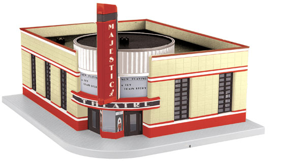 MTH 30-90490 Majestic Movie Theatre This is MTH 30-90490 O Majestic Movie Theatre. M.T.H. Electric Trains offers a variety of RailTown™ buildings to help you create whatever kind of atmosphere you desire; rural or urban, nostalgic or modern. Operating buildings transfer your layout's action from trains to structures adding fun and excitement to the entire pike. RailTown buildings are a perfect addition on any O Gauge layout, as each is sized for use with all O Gauge locomotives and rolling stock regardless of manufacturer.Fully assembled and ready-to-use, M.T.H. accessories will transform your layout into a world of action in just minutes.Its key features are:Intricately detailed ABS constructionFully assembledFully paintedLighted interiorLighted, blinking signUnit measures: 16 1/2 x 18 3/4 x 9 1/2Condition: Factory New (C-9All original; unused; factory rubs and evidence of handling, shipping and factory test run.Standards for all toy train related accessory items apply to the visual appearance of the item and do not consider the operating functionality of the equipment.Condition and Grading Standards are subjective, at best, and are intended to act as a guide. )Operational Status: FunctionalThis item is brand new from the factory.Original Box: Yes (P-9May have store stamps and price tags. Has inner liners.)Manufacturer: MTHModel Number: 30-90490MSRP: $129.95Scale/Era: O ModernModel Type: Accessories & BuildingsAvailability: Ships in 1 Business Day!The Trainz SKU for this item is P11982513. Track: 11982513 - No Location Assigned - 001 - TrainzAuctionGroup00UNK - TDIDUNK