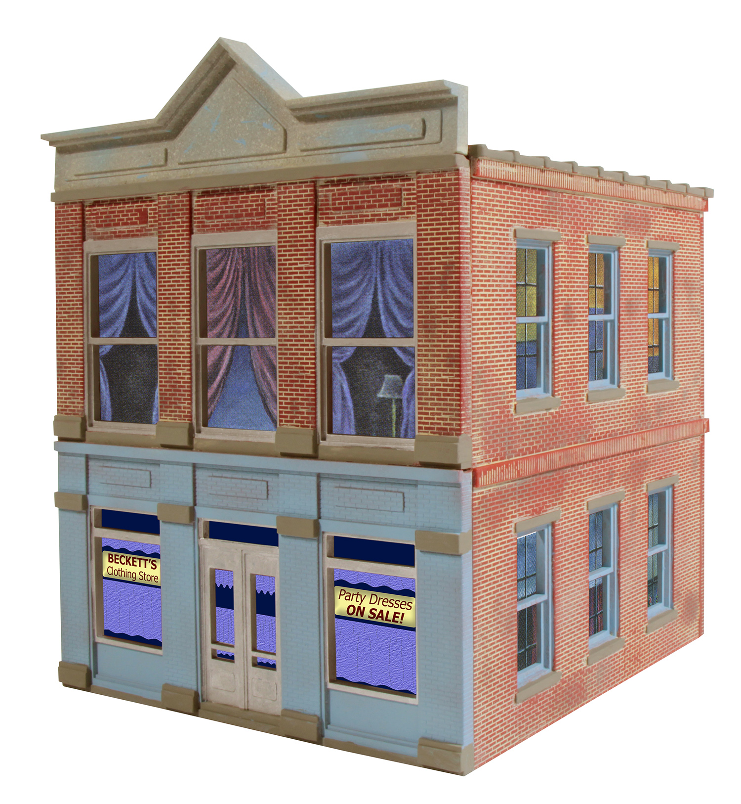 OGR 821 O Ameri-Towne Beckett's Clothing Building Kit This is a OGR Publishing Inc 92-821 O Scale Ameri-Towne Beckett's Clothing - Kit (Plastic) 6 x 6 x 4 15.2 x 15.2 x 20.4cmCondition: Factory New (C-9All original; unused; factory rubs and evidence of handling, shipping and factory test run.Standards for all toy train related accessory items apply to the visual appearance of the item and do not consider the operating functionality of the equipment.Condition and Grading Standards are subjective, at best, and are intended to act as a guide. )Operational Status: FunctionalThis item is brand new from the factory.Original Box: Yes (P-9May have store stamps and price tags. Has inner liners.)Manufacturer: OGRModel Number: 821MSRP: $31.95Scale/Era: O ModernModel Type: Accessories & BuildingsAvailability: Ships in 3 to 5 Business Days.The Trainz SKU for this item is P11648276. Track: 11648276 - FS - 001 - TrainzAuctionGroup00UNK - TDIDUNK