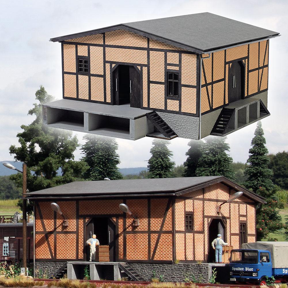 Busch 10050 O Half-Timber Freight House Kit Laser-Cut Wood & Card