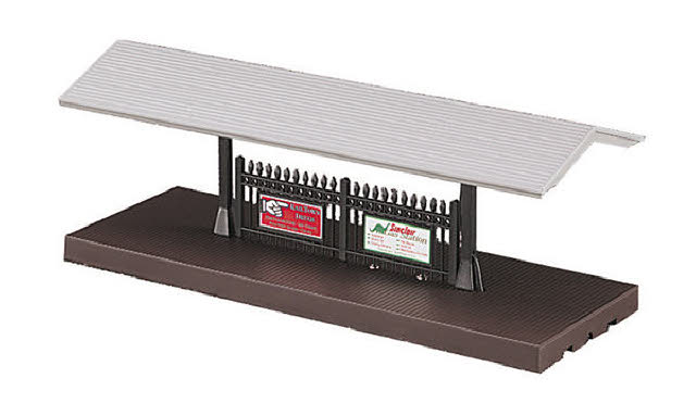 MTH 30-9006 Passenger Station Platform (Gray Roof/Brown Base) Here is an MTH 30-9006 Passenger Station Platform. This passenger platform adds a splash of life to your layout. Constructed from sturdy ABS plastic and brightly painted, this passenger platform is a perfect addition to any O-27 or O Gauge layout. It is 4 inches x 10 inches x 3 1/2 inches and is wired for lighting.Condition: Factory New (C-9All original; unused; factory rubs and evidence of handling, shipping and factory test run.Standards for all toy train related accessory items apply to the visual appearance of the item and do not consider the operating functionality of the equipment.Condition and Grading Standards are subjective, at best, and are intended to act as a guide. )Operational Status: FunctionalThis item is brand new from the factory.Original Box: Yes (P-9May have store stamps and price tags. Has inner liners.)Manufacturer: MTHModel Number: 30-9006Years Manufactured: 1997 - 2000MSRP: $24.95Scale/Era: O ModernModel Type: Accessories & BuildingsAvailability: Ships in 2 Business Days!The Trainz SKU for this item is P11414726. Track: 11414726 - S28 (Shelf)  - 001 - TrainzAuctionGroup00UNK - TDIDUNK
