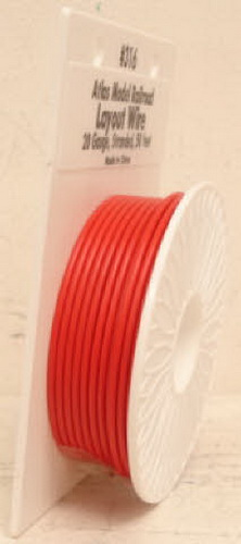 Atlas 316 50 Ft. Red 20 Gauge Layout Hookup Wire This is an Atlas 316 Red Layout Wire Reel. This reel includes 50 feet of 20 gauge stranded wire. This size wire is great for power to HO & N layouts and for lights, turnouts, and accessories on any scale layout. Use the Atlas 6900 series 16 gauge wire for power to O and G scale layouts.Condition: Factory New (C-9All original; unused; factory rubs and evidence of handling, shipping and factory test run.Standards for all toy train related accessory items apply to the visual appearance of the item and do not consider the operating functionality of the equipment.Condition and Grading Standards are subjective, at best, and are intended to act as a guide. )Operational Status: FunctionalThis item is brand new from the factory.Original Box: Yes (P-9May have store stamps and price tags. Has inner liners.)Manufacturer: AtlasModel Number: 316MSRP: $10.95Scale/Era: O ModernModel Type: Electronics & WiringAvailability: Ships in 3 to 5 Business Days.The Trainz SKU for this item is P11381612. Track: 11381612 - FS - 001 - TrainzAuctionGroup00UNK - TDIDUNK