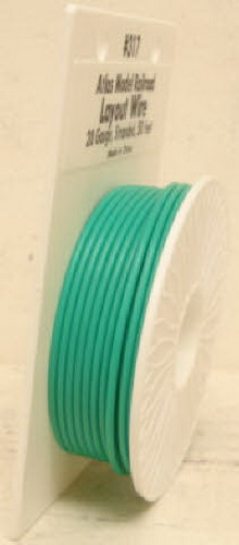 Atlas 317 50 Ft. Green 20 Gauge Layout Hookup Wire This is an Atlas 317 Green Layout Wire Spool. This spool includes 50 feet of 20 gauge stranded wire. This size wire is great for power to HO & N layouts and for lights, turnouts, and accessories on any scale layout. Use the Atlas 6900 series 16 gauge wire for power to O and G scale layouts.Condition: Factory New (C-9All original; unused; factory rubs and evidence of handling, shipping and factory test run.Standards for all toy train related accessory items apply to the visual appearance of the item and do not consider the operating functionality of the equipment.Condition and Grading Standards are subjective, at best, and are intended to act as a guide. )Operational Status: FunctionalThis item is brand new from the factory.Original Box: Yes (P-9May have store stamps and price tags. Has inner liners.)Manufacturer: AtlasModel Number: 317MSRP: $10.95Scale/Era: O ModernModel Type: Electronics & WiringAvailability: Ships within 3 Business Days!The Trainz SKU for this item is P11381613. Track: 11381613 - 4021-F (Suite 2730-100)  - 001 - TrainzAuctionGroup00UNK - TDIDUNK