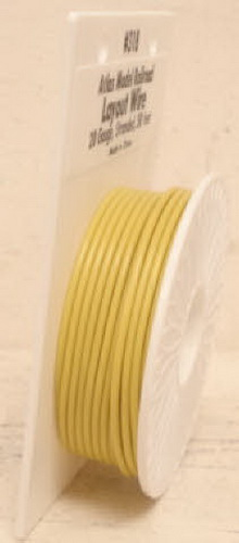 Atlas 318 50 Ft. Yellow 20 Gauge Layout Hookup Wire This is an Atlas Yellow Layout Wire Reel. This reel has 50 feet of 20 gauge stranded wire. This size wire is great for power to HO & N layouts and for lights, turnouts, and accessories on any scale layout. Use the Atlas 6900 series 16 gauge wire for power to O and G scale layouts.Condition: Factory New (C-9All original; unused; factory rubs and evidence of handling, shipping and factory test run.Standards for all toy train related accessory items apply to the visual appearance of the item and do not consider the operating functionality of the equipment.Condition and Grading Standards are subjective, at best, and are intended to act as a guide. )Operational Status: FunctionalThis item is brand new from the factory.Original Box: Yes (P-9May have store stamps and price tags. Has inner liners.)Manufacturer: AtlasModel Number: 318MSRP: $10.95Scale/Era: O ModernModel Type: Electronics & WiringAvailability: Ships within 3 Business Days!The Trainz SKU for this item is P11381614. Track: 11381614 - 4021-F (Suite 2730-100)  - 001 - TrainzAuctionGroup00UNK - TDIDUNK
