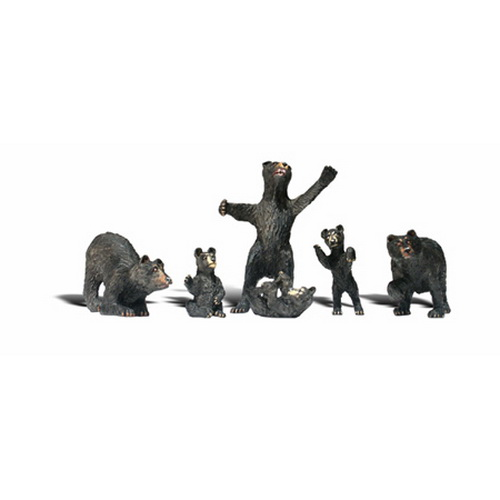 Woodland Scenics A2737 O Scale Black Bear Figures (6)