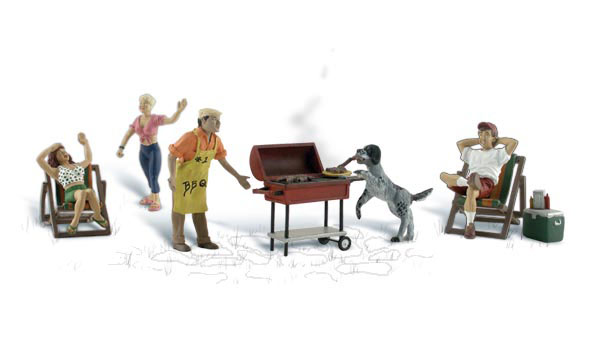 Woodland Scenics A2765 O Scale Backyard Barbeque Set & Figures This is Woodland Scenics A2765 O Backyard Barbeque. Complete your scene and bring it to life with affordable works of art in O scale. Sculpted in fine detail and hand-painted, they add color, humor and interest to any layout. Scenic Accents figures have a natural charm and a realistic appearance that steal the show! Attach with Scenic Accents Glue and position with Gentle Grips®. The neighborhood BBQ attracts some two-legged and four-legged friends. Includes a barbeque grill, cooler, lawnchairs, a man and woman sitting, a man and a woman standing, a dog ready to eat the hot dogs off the grill. Colors may vary from actual product.Condition: Factory New (C-9All original; unused; factory rubs and evidence of handling, shipping and factory test run.Standards for all toy train related accessory items apply to the visual appearance of the item and do not consider the operating functionality of the equipment.Condition and Grading Standards are subjective, at best, and are intended to act as a guide. )Operational Status: FunctionalThis item is brand new from the factory.Original Box: Yes (P-9May have store stamps and price tags. Has inner liners.)Manufacturer: Woodland ScenicsModel Number: A2765MSRP: $25.99Scale/Era: O ModernModel Type: FiguresAvailability: Ships in 2 Business Days!The Trainz SKU for this item is P11637052. Track: 11637052 - 4003-E (Suite 2730-100)  - 001 - TrainzAuctionGroup00UNK - TDIDUNK