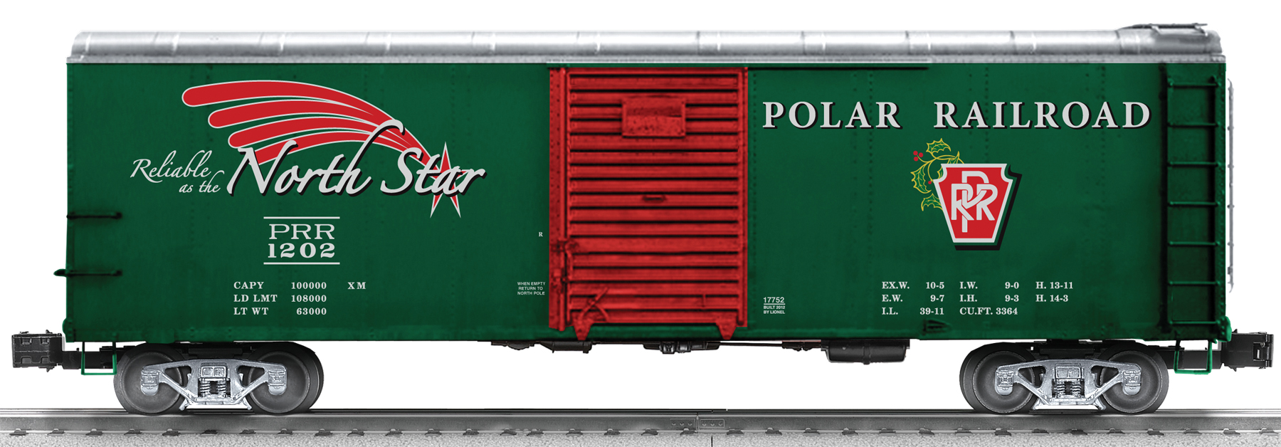 """Lionel 6-17752 Polar Railroad Round Roof Boxcar This is Lionel 6-17752 Polar Railroad Round Roof Boxcar. We have our winner! In a recent contest, Lionel RailRoader Club members submitted ideas for a new slogan to be used on an upcoming Polar Railroad car. The winning entry, """"Reliable as the North Star"""" was submitted by LRRC member Kent Tranter. This new slogan is featured for the first time on Lionel's new round roof boxcar decorated specially for the holidays.Its key features are:Die-cast metal sprung trucks andoperating couplersHidden uncoupling tabsDie-cast metal frameSeparately applied metal underframe detailsOpening doorsRoad number: 1202Dimensions: length: 11 ¼RailLine: Polar RailroadMinimum curve: O-31Condition: Factory New (C-9All original; unused; factory rubs and evidence of handling, shipping and factory test run.Standards for all toy train related accessory items apply to the visual appearance of the item and do not consider the operating functionality of the equipment.Condition and Grading Standards are subjective, at best, and are intended to act as a guide. )Operational Status: FunctionalThis item is brand new from the factory.Original Box: Yes (P-9May have store stamps and price tags. Has inner liners.)Manufacturer: LionelModel Number: 6-17752MSRP: $69.99Scale/Era: O ModernModel Type: Freight CarsAvailability: Ships in 3 to 5 Business Days.The Trainz SKU for this item is P11680074. Track: 11680074 - FS - 001 - TrainzAuctionGroup00UNK - TDIDUNK"""
