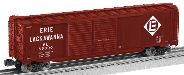 Lionel 6-17754 Erie-Lackawanna w/End Doors DD Boxcar This is Lionel 6-17754 Erie-Lackawanna w/End Doors DD Boxcar. Erie Lackawanna scale 50' double door boxcar with end doors #65000. Based on standard AAR designs, Lionel 50' Double-Door Boxcars are accurate, finely-detailed models of a freight car widely produced in the late steam and early diesel era. The extra length and added side door were especially useful for automobile and furniture loads. Many railroads also owned a version that featured swinging doors at one end of the boxcar, especially useful for auto loading and unloading. Its key features are:Die-cast metal sprung trucks and operating couplersSeparately applied metal underframe detailsOpening doorsAuto frame loadOpening end doorsRoad number: 65000Dimensions: length: 14RailLine: Erie LackawannaMinimum curve: O-31Condition: Factory New (C-9All original; unused; factory rubs and evidence of handling, shipping and factory test run.Standards for all toy train related accessory items apply to the visual appearance of the item and do not consider the operating functionality of the equipment.Condition and Grading Standards are subjective, at best, and are intended to act as a guide. )Operational Status: FunctionalThis item is brand new from the factory.Original Box: Yes (P-9May have store stamps and price tags. Has inner liners.)Manufacturer: LionelModel Number: 6-17754MSRP: $74.99Scale/Era: O ModernModel Type: Freight CarsAvailability: Ships in 2 Business Days!The Trainz SKU for this item is P11822410. Track: 11822410 - S09 (Shelf)  - 001 - TrainzAuctionGroup00UNK - TDIDUNK