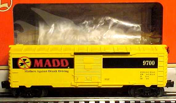 Lionel 6-26239 M.A.D.D. Boxcar # 9700 Here is a Lionel 26239 Mothers Against Drunk Driving Boxcar built in 1999. It features die-cast metal trucks, sliding doors, and a metal brakewheel.Condition: Factory New (C-9All original; unused; factory rubs and evidence of handling, shipping and factory test run.Standards for all toy train related accessory items apply to the visual appearance of the item and do not consider the operating functionality of the equipment.Condition and Grading Standards are subjective, at best, and are intended to act as a guide. )Operational Status: FunctionalThis item is brand new from the factory.Original Box: Yes (P-9May have store stamps and price tags. Has inner liners.)Manufacturer: LionelModel Number: 6-26239Years Manufactured: 1999 - 1999Road Name: MADDScale/Era: O ModernModel Type: Freight CarsAvailability: Ships in 3 to 5 Business Days.The Trainz SKU for this item is P11397928. Track: 11397928 - FS - 001 - TrainzAuctionGroup00UNK - TDIDUNK