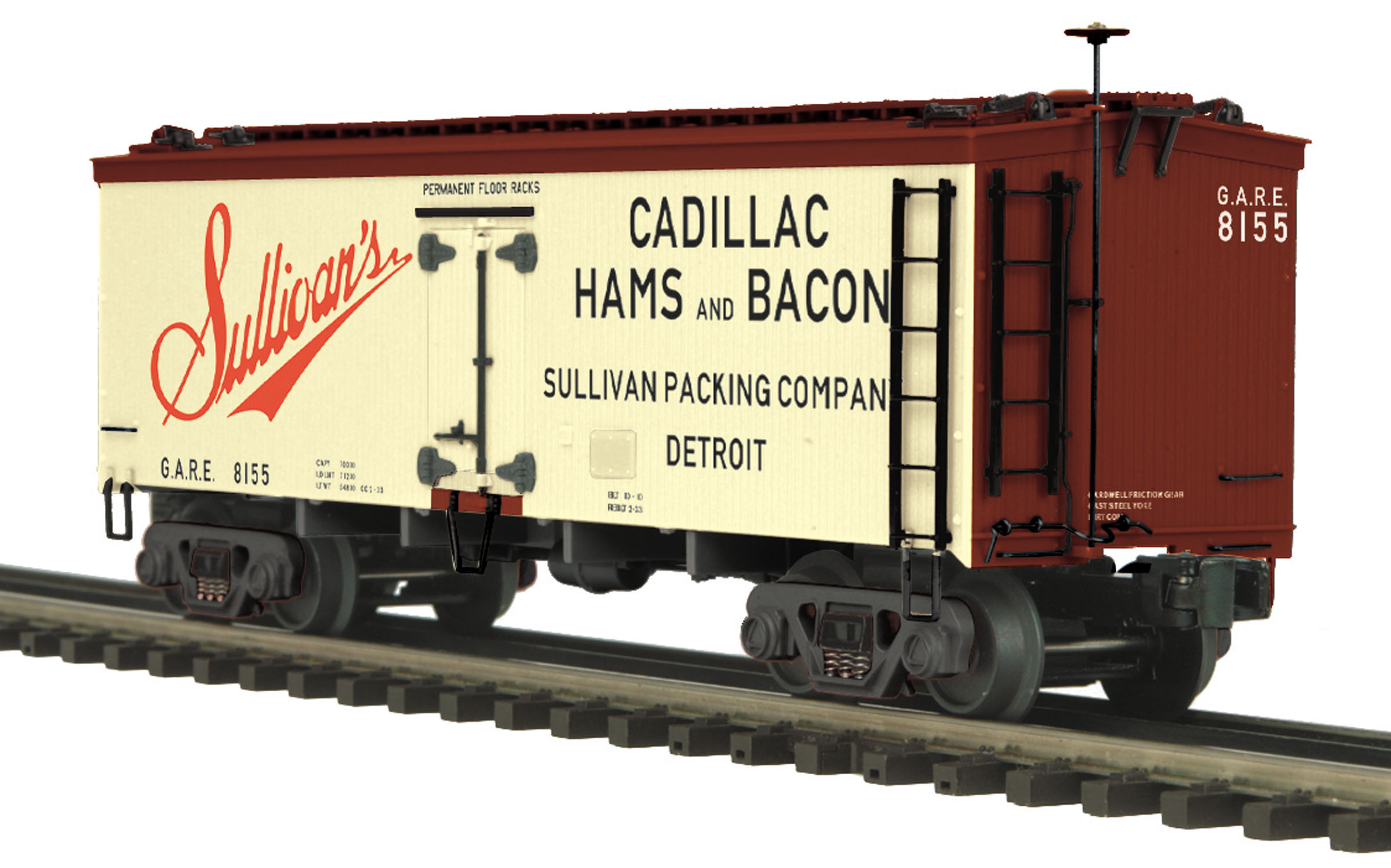 MTH 20-94377 O Sullivans Packing 36' Woodside Reefer This is MTH 20-94377 O Sullivans Packing 36' Woodside Reefer. 36' woodsided reefer car, Sullivan's Packing. Car numbers: 8155, 8150. The coming of the railroad changed the way America ate and drank. Before the iron horse connected every town of any importance to the outside world, most food was grown or produced locally. The arrival of cheap, fast, refrigerated transport - in the form of the woodsided reefer with ice bunkers at each end - enabled local brewers, diaries, meat processors, and other food businesses to become players on a national scale.Until 1934, shippers could advertise their wares on leased billboard reefers, each a hand-painted traveling work of art. That year, the Interstate Commerce Commission outlawed the flamboyant paint schemes because the cars often hauled shipments from other companies - whose freight bills thus unfairly paid to advertise the lessee's products.What doomed the billboard cars was truth in labeling. Depending on shipping needs, billboard cars often carried loads for customers other than the company named on the car sides. A beer company requesting an empty reefer for loading, for example, might find a cheese maker's delivered to its door. Shippers were not happy when their product was carried in a car bearing a large ad for someone else's product - they complained that their freight bill had in part paid for another company's advertising.Responding to these complaints, the Interstate Commerce Commission in July 1934 mandated the phasing out of billboard reefers and ruled that thereafter, the lessee's name on a car could be no more than 12 high. By law, all billboard reefers were removed from service by January, 1937, although many soldiered on in drabber paint schemes as late as the 1960s.MTH Premier O Scale freight cars are the perfect complement to any manufacturer's scale proportioned O Gauge locomotives. Whether you prefer to purchase cars separatel