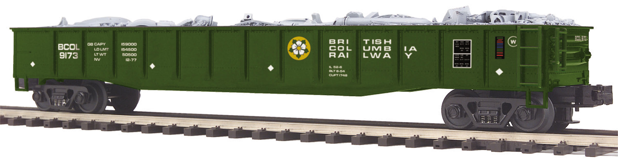 MTH 20-98981 O British Columbia Gondola w/Junk Load This is MTH 20-98981 O British Columbia Gondola w/Junk Load. Gondola car with junk load, British Columbia. Numbers: 9173, 9176. On its customer Web site, the Union Pacific Railroad characterizes a gondola as an extremely sturdy open design for carrying rugged unfinished commodities; its large flat interior design with side walls is described as more flexible than a flat car. These qualities make the modern gondola particularly popular with the steel industry, for transportation of loose materials like scrap metal, waste, coke, and slag as well as finished products like iron or steel plate, pipe, structural steel, and rails for railroad track. Our car replicates a 52' mill gondola, so-called for its popularity with steel mills, and carries a removable load of scrap metal that might be recycled and used to stamp parts for autos, appliances, and a variety of other products.Other commodities commonly shipped in gondolas include mineral ores, granite slabs, gravel, logs, lumber, railroad ties, and even prefabricated railroad track, also known as panel track.The name for these cars actually predates railroads. In the early 1800s, utilitarian flat-bottomed boats with low sides, used to transport coal down the Potomac River to the Washington D.C. area, were called gondolas as a spoof on the much fancier Venetian gondolas. Similarly shaped coal-carrying cars on early railroads earned the same moniker. As more specialized cars were invented for coal service, the gondola evolved into the general-purpose car it is today.MTH Premier O Scale freight cars are the perfect complement to any manufacturer's scale proportioned O Gauge locomotives. Whether you prefer to purchase cars separately or assemble a unit train, MTH Premier Rolling Stock has the cars for you in a variety of car types and paint schemes.Virtually every sturdy car is offered in two car numbers which makes it even