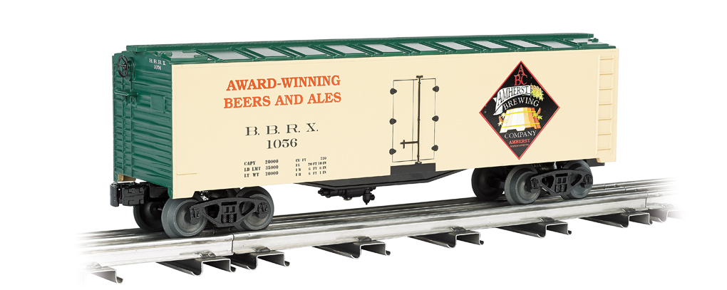 Williams 47464 Amherst Brewing Company, 40' Refrigerator Car This is Williams 47464 Amherst Brewing Company, 40 ft Refrigerator Car. Its key features are:Navigates O-27 curvesCar length 10, height 3.5Durable ABS plastic shellDie-cast trucksMetal wheelsOperating couplersPrototypical graphicsMetal floor and brake wheelCondition: Factory New (C-9All original; unused; factory rubs and evidence of handling, shipping and factory test run.Standards for all toy train related accessory items apply to the visual appearance of the item and do not consider the operating functionality of the equipment.Condition and Grading Standards are subjective, at best, and are intended to act as a guide. )Operational Status: FunctionalThis item is brand new from the factory.Original Box: Yes (P-9May have store stamps and price tags. Has inner liners.)Manufacturer: WilliamsModel Number: 47464MSRP: $76.95Scale/Era: O ModernModel Type: Freight CarsAvailability: Ships in 3 to 5 Business Days.The Trainz SKU for this item is P11641748. Track: 11641748 - FS - 001 - TrainzAuctionGroup00UNK - TDIDUNK