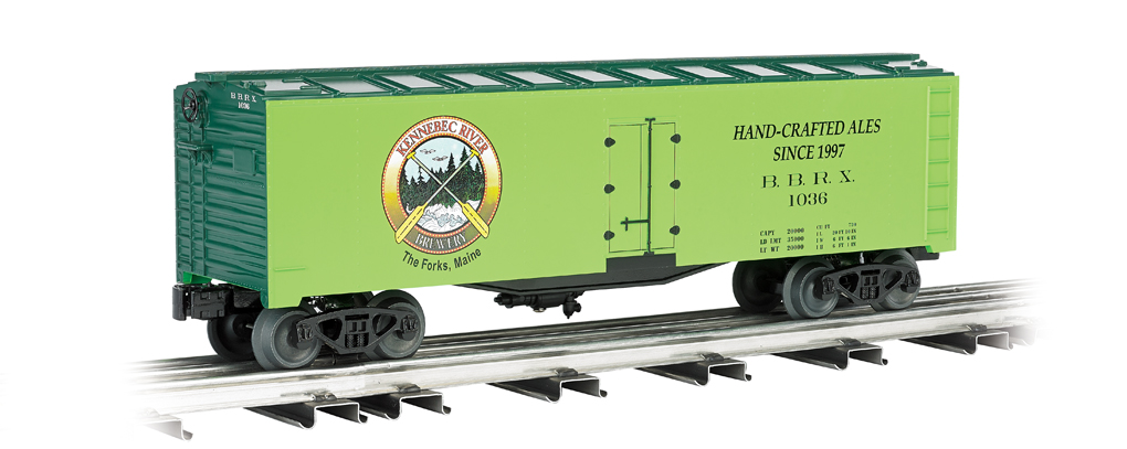Williams 47465 Kennebec Brewing, 40 FT Refrigerator Car This is Williams 47465 Kennebec Brewing, 40 Ft Refrigerator Car. 40' steel box car.Its key features are:Durable ABS plastic shellDie-cast trucksMetal wheelsOperating couplersPrototypical graphicsMetal floor and brake wheelNavigates O-27 curvesCar length 10, height 3.5Condition: Factory New (C-9All original; unused; factory rubs and evidence of handling, shipping and factory test run.Standards for all toy train related accessory items apply to the visual appearance of the item and do not consider the operating functionality of the equipment.Condition and Grading Standards are subjective, at best, and are intended to act as a guide. )Operational Status: FunctionalThis item is brand new from the factory.Original Box: Yes (P-9May have store stamps and price tags. Has inner liners.)Manufacturer: WilliamsModel Number: 47465MSRP: $76.95Scale/Era: O ModernModel Type: Freight CarsAvailability: Ships in 3 to 5 Business Days.The Trainz SKU for this item is P11641749. Track: 11641749 - FS - 001 - TrainzAuctionGroup00UNK - TDIDUNK
