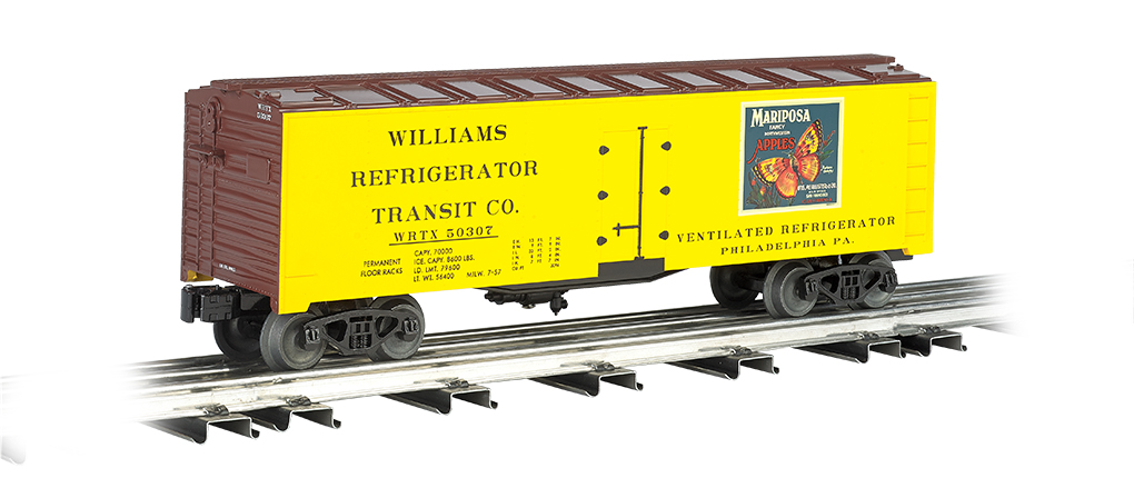 Williams 47466 O 40' Reefer Mariposa Apples This is Williams 47466 O 40' Reefer Mariposa Apples. 40' refrigerated steel box car.Its key features are:Compatible with any O scale train equipmentDurable ABS plastic shellDie-cast trucksMetal wheelsOperating couplersPrototypical graphicsMetal floor and brake wheelLength: 10 (254mm)Height: 3.5 (88.9mm)Minimum curve: O-27Condition: Factory New (C-9All original; unused; factory rubs and evidence of handling, shipping and factory test run.Standards for all toy train related accessory items apply to the visual appearance of the item and do not consider the operating functionality of the equipment.Condition and Grading Standards are subjective, at best, and are intended to act as a guide. )Operational Status: FunctionalThis item is brand new from the factory.Original Box: Yes (P-9May have store stamps and price tags. Has inner liners.)Manufacturer: WilliamsModel Number: 47466MSRP: $76.95Scale/Era: O ModernModel Type: Freight CarsAvailability: Ships in 3 to 5 Business Days.The Trainz SKU for this item is P11725521. Track: 11725521 - FS - 001 - TrainzAuctionGroup00UNK - TDIDUNK