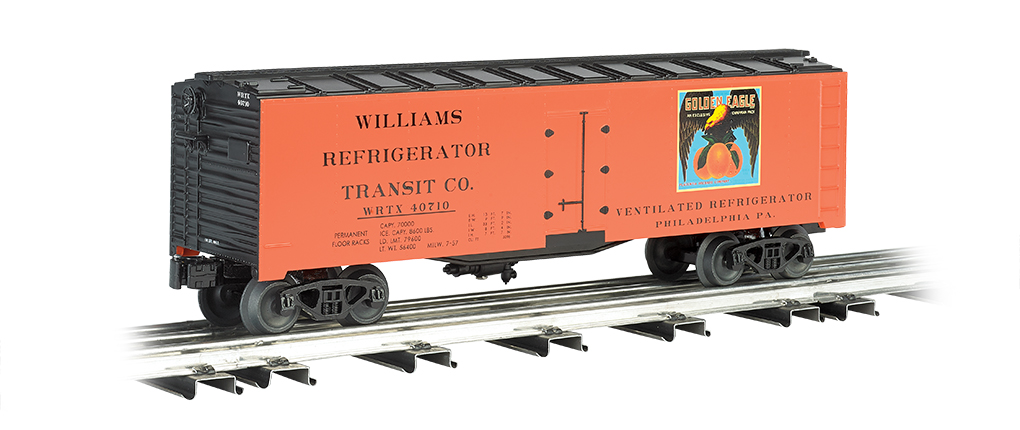 Williams 47467 40' Reefer Golden Eagle This is Bachmann 47467 40' Reefer Golden Eagle Oranges. 40' refrigerated steel box car.Its key features are:Compatible with any O scale train equipmentDurable ABS plastic shellDie-cast trucksMetal wheelsOperating couplersPrototypical graphicsMetaCondition: Factory New (C-9All original; unused; factory rubs and evidence of handling, shipping and factory test run.Standards for all toy train related accessory items apply to the visual appearance of the item and do not consider the operating functionality of the equipment.Condition and Grading Standards are subjective, at best, and are intended to act as a guide. )Operational Status: FunctionalThis item is brand new from the factory.Original Box: Yes (P-9May have store stamps and price tags. Has inner liners.)Manufacturer: WilliamsModel Number: 47467MSRP: $76.95Scale/Era: O ModernModel Type: Freight CarsAvailability: Ships in 3 to 5 Business Days.The Trainz SKU for this item is P11974787. Track: 11974787 - FS - 001 - TrainzAuctionGroup00UNK - TDIDUNK