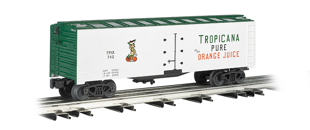 Williams 47468 O 40' Reefer Tropicana This is Williams 47468 O 40' Reefer Tropicana. 40' refrigerated steel box car.Its key features are:Compatible with any O scale train equipmentDurable ABS plastic shellDie-cast trucksMetal wheelsOperating couplersPrototypical graphicsMetal floor and brake wheelLength: 10 (254mm)Height: 3.5 (88.9mm)Minimum curve: O-27Condition: Factory New (C-9All original; unused; factory rubs and evidence of handling, shipping and factory test run.Standards for all toy train related accessory items apply to the visual appearance of the item and do not consider the operating functionality of the equipment.Condition and Grading Standards are subjective, at best, and are intended to act as a guide. )Operational Status: FunctionalThis item is brand new from the factory.Original Box: Yes (P-9May have store stamps and price tags. Has inner liners.)Manufacturer: WilliamsModel Number: 47468MSRP: $76.95Scale/Era: O ModernModel Type: Freight CarsAvailability: Ships in 3 to 5 Business Days.The Trainz SKU for this item is P11725523. Track: 11725523 - FS - 001 - TrainzAuctionGroup00UNK - TDIDUNK