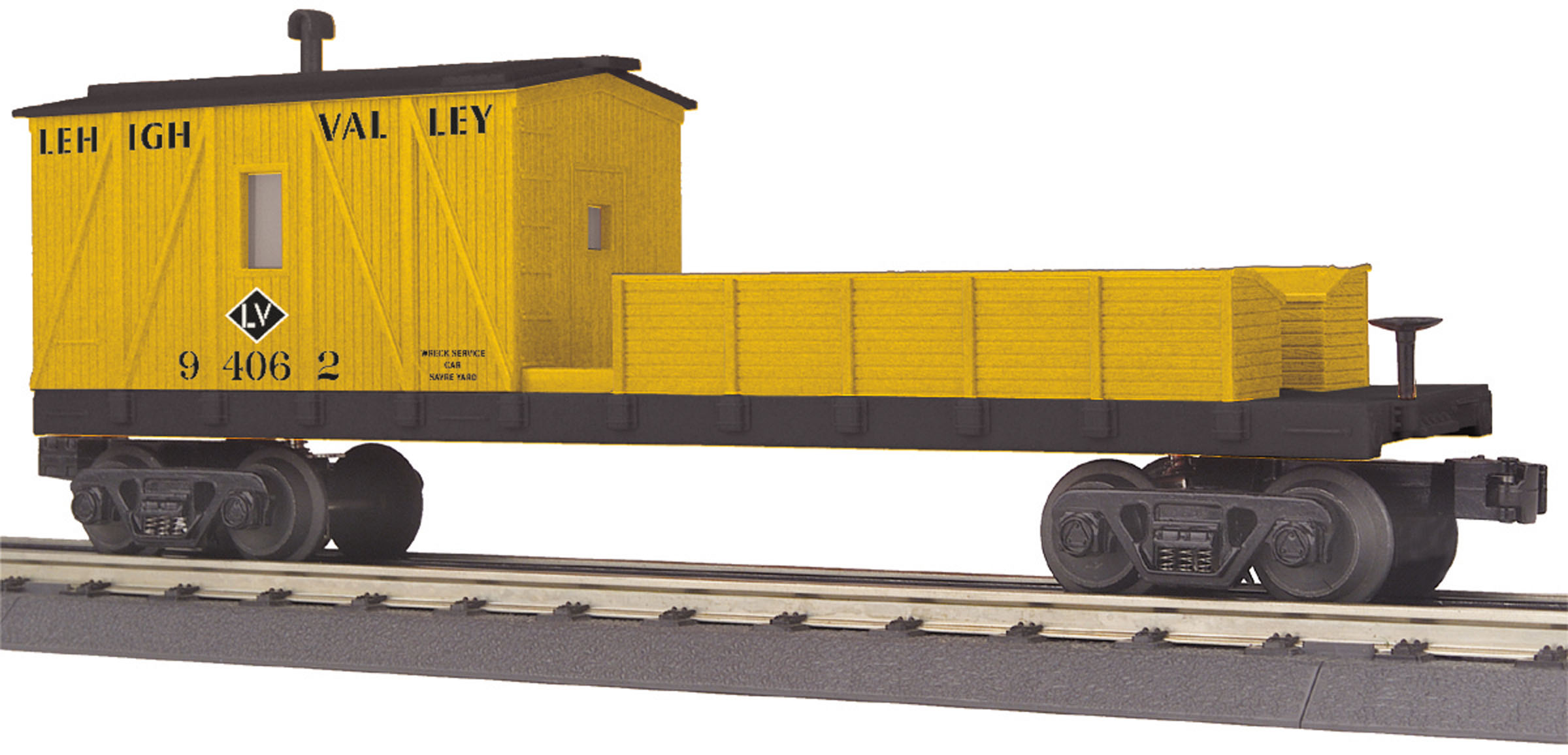 MTH 30-79441 O LV Crane Tender This is MTH 30-79441 O LV Crane Tender. Lehigh Valley, car number: 94062. The crane tender had two jobs: to protect the crane's boom and enable it to be coupled with other cars on the way to a wreck site, and to carry the tools, chains, slings and other gear needed to clear a wreck. Unlike the crane itself, which was a precision piece of gear made by a specialized company, the crane tender was usually a home-built affair, cobbled together from whatever a railroad's shop crew had lying around. Our model represents a typical such car, built from an older flatcar and part of an obsolete or wreck-damaged outside-braced wooden box car, now functioning as an equipment shed.The rest of a typical wreck train usually had the same hand-me-down look. Passenger and freight cars no longer fit for revenue service were recycled into crew, equipment, and tool cars for wreck and maintenance of way service.High quality, traditionally sized RailKing Freight Cars provide detailed bodies and colorful paint schemes for the O Gauge railroader. MTH makes an enormous variety of RailKing Freight Cars, including many different car types and roadnames. No matter what era or part of the country you are modeling, RailKing is sure to have something for you.Its key features are:Intricately detailed durable ABS bodyMetal wheels and axlesDie-cast 4-wheel trucksOperating die-cast metal couplersColorful, attractive paint schemesDecorative brake wheelsFast-angle wheel setsNeedle-point axlesOperating interior lightingUnit measures: 11 1/2 x 2 5/16 x 4Operates on O-27 curvesCondition: Factory New (C-9All original; unused; factory rubs and evidence of handling, shipping and factory test run.Standards for all toy train related accessory items apply to the visual appearance of the item and do not consider the operating functionality of the equipment.Condition and Grading Standards are subjective, at best, and are intended to act as a gu