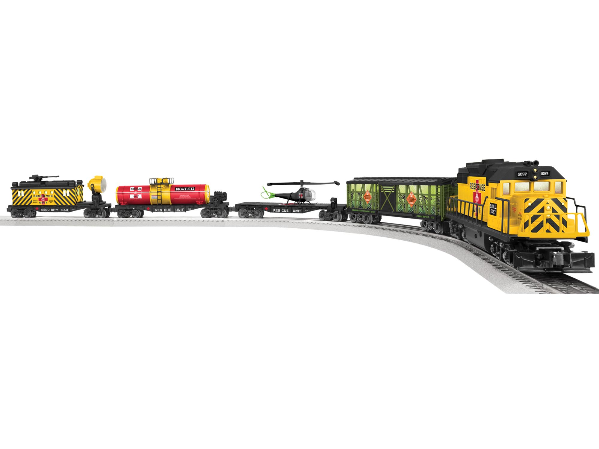 Lionel 6-82099 Zombie Apocalypse Survivors Train Set with Sound & Lion This is a Lionel 6-82099 O Scale Zombie Apocalypse Survivors Set with Sound & LionChief Remote. Set Includes: GP38 diesel locomotive , Transparent Stock Car , Flatcar with Helicopter , Flatcar with water tank , Security caboose , Eight curved O36 FasTrack track sections, three straight FasTrack track section, and one straight FasTrack terminal track section , Wall-pack power supply , LionChief remote for locomotive , Pack of zombie and military figures , Locomotive Features: , Electric locomotive controlled by remote , On/off switch for sound , RailSounds RC sound system with diesel revving and background sounds, horn, bell, and user-activated alien sounds (with remote use only) , Operating directional headlights , Duel powerful maintenance-free motor , Metal frame and handrails , Operating couplers at both ends , Lighted interior , Traction tires , Engineer and fireman figures , Rolling Stock Features: , Die-cast metal sprung trucks , Operating couplers , Illuminated transparent stock car , Removable helicopter load , Metal ladders on tank car , Interior illumination in caboose with rotating searchlight , Remote Features: , Forward and reverse speed control knob , Three buttons for whistle sound, bell, and special announcements and Requires three AAA alkaline batteries (not included).Condition: Factory New (C-9All original; unused; factory rubs and evidence of handling, shipping and factory test run.Standards for all toy train related accessory items apply to the visual appearance of the item and do not consider the operating functionality of the equipment.Condition and Grading Standards are subjective, at best, and are intended to act as a guide. )Operational Status: FunctionalThis item is brand new from the factory.Original Box: Yes (P-9May have store stamps and price tags. Has inner liners.)Manufacturer: LionelModel Numb