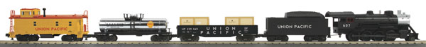 MTH 30-4228-1  Union pacific 2-8-0 Steam Freight R-T-R Train Set w/Pro Features Set Features Die-Cast Steam Locomotive 3-Car Freight Consist 31 x 51 12-Piece RealTrax Circle RailWare Interactive DVD With Track Layout Software Lighted Track Lock-On 50 Watt Transformer With Wireless Digital Remote Commander Locomotive Features Die-Cast Boiler and Chassis Flywheel Equipped Motor Locomotive Speed Control In Scale MPH Increments Electronic Reverse Unit Remotely Controlled Proto-Coupler Operating Headlight Synchronized Puffing ProtoSmoke Unit All-Metal Wheels and Gears Proto-Sound 3.0 Sound System Featuring Freight Yard Proto-EffectsT Freight Cars Feature Intricately Detailed Durable ABS Bodies Die-Cast 4-Wheel Trucks Operating Die-Cast Metal Couplers Colorful, Attractive Paint Schemes Fast-Angle Wheel Sets Needle-Point Axles Metal Wheels and AxlesCondition: Factory New (C-9All original; unused; factory rubs and evidence of handling, shipping and factory test run.Standards for all toy train related accessory items apply to the visual appearance of the item and do not consider the operating functionality of the equipment.Condition and Grading Standards are subjective, at best, and are intended to act as a guide. )Operational Status: FunctionalThis item is brand new from the factory.Original Box: Yes (P-9May have store stamps and price tags. Has inner liners.)Manufacturer: MTHModel Number: 30-4228-1MSRP: $429.95Scale/Era: O ModernModel Type: Starter SetsAvailability: Ships in 3 to 5 Business Days.The Trainz SKU for this item is P11982489. Track: 11982489 - FS - 001 - TrainzAuctionGroup00UNK - TDIDUNK