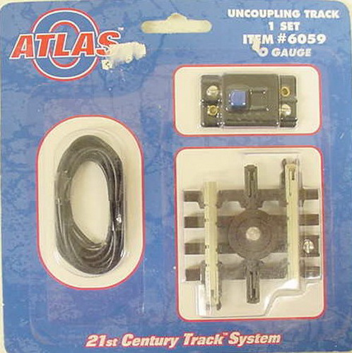 Atlas 6059 Short Uncoupling Track Section This includes one Atlas 6059 Nickel Silver Short Uncoupling Track Section, the controller and hookup wire. It is used to uncouple cars with the traditional plunger-type magnetic couplers. It has one terminal post to connect to a fixed or variable post on your transformer. It features a blackened center rail, scale-sized, brown plastic ties with wood grain, tie plates with spikes, and rail joiners with bolt detail of real track. Snap-locks ensure positive track connections and electrical conductivity.Condition: Factory New (C-9All original; unused; factory rubs and evidence of handling, shipping and factory test run.Standards for all toy train related accessory items apply to the visual appearance of the item and do not consider the operating functionality of the equipment.Condition and Grading Standards are subjective, at best, and are intended to act as a guide. )Operational Status: FunctionalThis item is brand new from the factory.Original Box: Yes (P-9May have store stamps and price tags. Has inner liners.)Manufacturer: AtlasModel Number: 6059MSRP: $21.00Scale/Era: O ModernModel Type: Track/Switches/Etc.Availability: Ships within 3 Business Days!The Trainz SKU for this item is P11381798. Track: 11381798 - 1012-B (Suite 2740-200)  - 001 - TrainzAuctionGroup00UNK - TDIDUNK