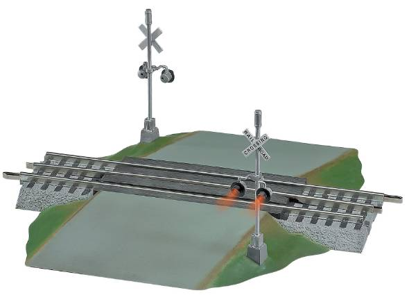 Lionel 6-12052 FasTrack Grade Crossover w/Flasher Here is a Lionel 6-12052 FasTrack Grade Crossing with two Highway Flashing signals. When a train approaches the lights on the two signals flash alternatively and an electronic bell sounds. It includes 2 flashing signals and bell, (1) 10 inch straight track section, and (2) 5 inch isolated sections for activation. The roadway section measures approximately 6 1/4 inches in width.Condition: Factory New (C-9All original; unused; factory rubs and evidence of handling, shipping and factory test run.Standards for all toy train related accessory items apply to the visual appearance of the item and do not consider the operating functionality of the equipment.Condition and Grading Standards are subjective, at best, and are intended to act as a guide. )Operational Status: FunctionalThis item is brand new from the factory.Original Box: Yes (P-9May have store stamps and price tags. Has inner liners.)Manufacturer: LionelModel Number: 6-12052Years Manufactured: 2005 - ????MSRP: $99.99Scale/Era: O ModernModel Type: Track/Switches/Etc.Availability: Ships in 1 Business Day!The Trainz SKU for this item is P11392559. Track: 11392559 - S04 (Shelf)  - 001 - TrainzAuctionGroup00UNK - TDIDUNK