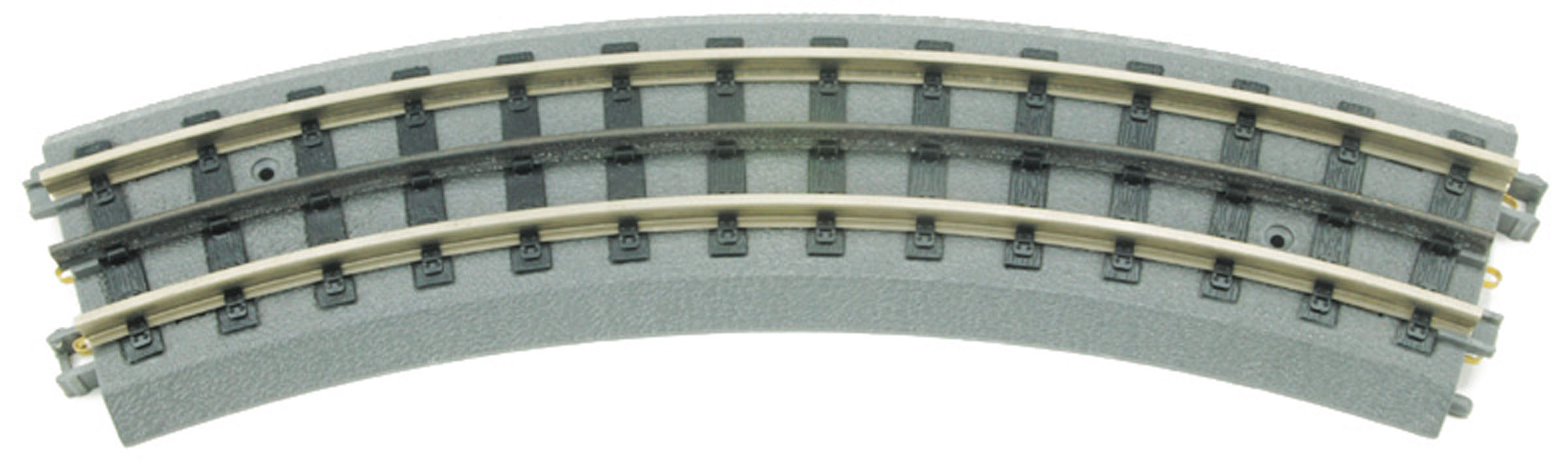 MTH 40-1002 Curved 0-31 Realtrax Track This is MTH 40-1002 RealTrax, O-31 curved section. At M.T.H. we believe a track system should allow your model railroad empire to grow. The RealTrax system includes 72 different components for maximum expansion capabilites. You'll find bridges, curves of all sizes, elevated and graduated trestles, crossovers, and every straight and curved configuration you'll need to create your own model railroad empire. And every piece of RealTrax is rugged, realistic, and reliable so you can have fun running your trains.RuggedBecause most toy train empires begin on a carpet or floor, RealTrax is designed to hold up to the rigors of childhood play. Strong snap-together connections make it easy to assemble or change a layout in minutes. And the built-in roadbed helps keep dirt on the floor away from the wheels and gears of your trains.RealisticWith its realistic crossties and ballasted roadbed, RealTrax looks like the mainline track used by heavy freights and high-speed passenger trains. Unlike older O gauge track with a round cross section, RealTrax uses flat-top T-rail like a real railroad.ReliableNickel silver rail ensures that RealTrax will never rust. Spring-loaded phosphor bronze contacts provide superior electrical connections between track sections. The contacts are spring loaded to maintain a solid connection over time and are highly resistant to corrosion of any kind. Similar materials are used in many electrical connections around your home, such as lamps, battery-operated appliances, and electrical outlets.Did You Know?It takes EIGHT sections of O-31 RealTrax Curves To Make A CircleIt takes TWELVE sections of O-42 RealTrax Curves To Make A CircleIt takes SIXTEEN sections of O-54 RealTrax Curves To Make A CircleIt takes SIXTEEN sections of O-72 RealTrax Curves To Make A CircleIt takes SIXTEEN sections of O-82 RealTrax Curves To Make A CircleIts key features are:Intricately detailed ABS roadbedSolid, rust-proof nicke