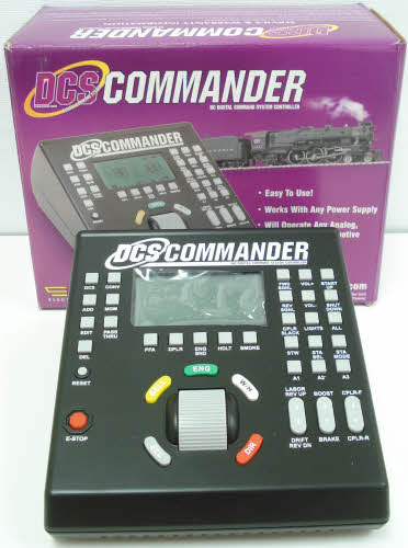 MTH 50-1028 DCS Commander Controller This is an MTH 50-1028 DCS Command Controller. MTH's Digital Command System (DCS) unlocks the full sound and operating potential of Proto-Sound 2.0 or later equipped locomotives. Insert a DCS Commander in the wires from your existing DCC system to the track and you can switch back and forth between DCC and DCS with the push of a button. Or use the Commander alone with your own DC power supply. Because many M.T.H. Proto-Sound 2.0 locomotives can operate on both AC or DC current, the DCS Commander may be the affordable DCS command control option you've been looking for. The DCS commander outputs up to 18 volts of DC power and includes a built-in 5amp resettable breaker making it a perfect solution for small M.T.H. O Gauge layouts exclusively running Proto-Sound 2.0 locomotives.For HO operators, the DCS Commander Controller Set is a perfect power solution for almost any size HO layout. HO operators whose layouts are already outfitted with a DC power supply can choose the individual DCS Commander and plug their existing power supply right into the Commander's power inputs. The DCS Commander offers intuitive control of multiple Proto-Sound engines; for each locomotive, more than 32 functions are available at the touch of a single, clearly-labeled button. In addition to the features available with DCC and analog DC, the DCS Commander unlocks a long list of Proto-Sound operating possibilities.Feattures include Speed adjustment in one-scale-mile-per hour steps, Independent feature control: tune your engines' sound, lights, smoke and acceleration/deceleration settings, Smoke on/off, Doppler sounds: simulate the classic sound effect of a train approaching and then whizzing past, Accent sounds: activate any one of 7 individual sounds, including signal forward and reverse sounds, coupler slack, engine start-up and shut-down, engine labor and drift, Activate Passenger Station and Freight Yard Sounds,
