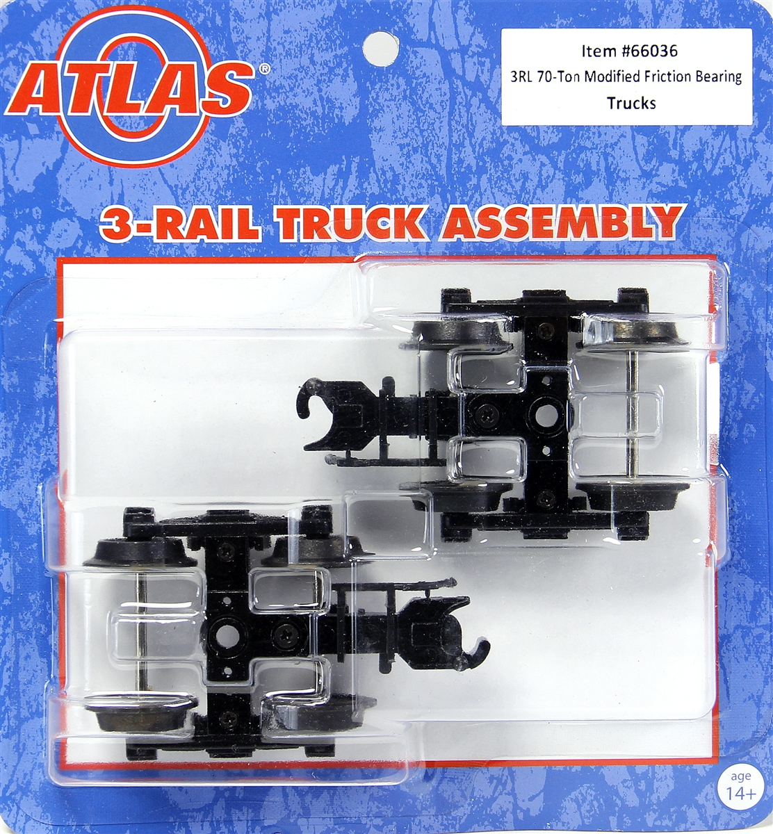 Atlas 66036 O 70-Ton Modified Friction Bearing Trucks 3-Rail 1 Pair This is Atlas 66036 O Scale 70-Ton Modified Friction Bearing Trucks w/Knuckle Coupler 3-Rail Ready to 1 Pair . 3-Rail Trucks with Scale Sideframes. Features: Hidden uncoupler tab*Scale thickness side frames*Scale distance between the side frame*Direct replacement for older Atlas 3-Rail trucks*Note: Separate sale trucks include a standard length couplerCondition: Factory New (C-9All original; unused; factory rubs and evidence of handling, shipping and factory test run.Standards for all toy train related accessory items apply to the visual appearance of the item and do not consider the operating functionality of the equipment.Condition and Grading Standards are subjective, at best, and are intended to act as a guide. )Operational Status: FunctionalThis item is brand new from the factory.Original Box: Yes (P-9May have store stamps and price tags. Has inner liners.)Manufacturer: AtlasModel Number: 66036MSRP: $24.95Scale/Era: O ModernModel Type: Trucks/CouplersAvailability: Ships in 3 to 5 Business Days.The Trainz SKU for this item is P12092728. Track: 12092728 - FS - 001 - TrainzAuctionGroup00UNK - TDIDUNK