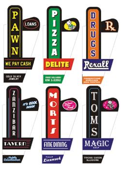 Miller Engineering 66812 Animated Sign Kit Downtown Series #1 - Right This is a Miller Engineering 66812 All Scales Animated Multi-Graphic Vertical Neon Sign Kit with 6 Overlays Downtown Series #1 - Right - Large. These lighted signs add realism to any storefront. Each includes colorful graphic overlays for six businesses that provide full-color lighted lettering; plug-and-play electronics, on-off switch and battery holder that uses three AAA batteries (sold separately). Larger signs are suitable for HO and larger scales; smaller signs can be used in HO and N Scales. All are available in left- or right-handed orientations and are easily mounted to the front of your storefronts. Suitable for steam or diesel eras. Sign features animated chase lights and arrow.Condition: Factory New (C-9All original; unused; factory rubs and evidence of handling, shipping and factory test run.Standards for all toy train related accessory items apply to the visual appearance of the item and do not consider the operating functionality of the equipment.Condition and Grading Standards are subjective, at best, and are intended to act as a guide. )Operational Status: FunctionalThis item is brand new from the factory.Original Box: Yes (P-9May have store stamps and price tags. Has inner liners.)Manufacturer: Miller EngineeringModel Number: 66812MSRP: $26.95Scale/Era: O ModernModel Type: Accessories & BuildingsAvailability: Ships in 3 to 5 Business Days.The Trainz SKU for this item is P11508819. Track: 11508819 - FS - 001 - TrainzAuctionGroup00UNK - TDIDUNK