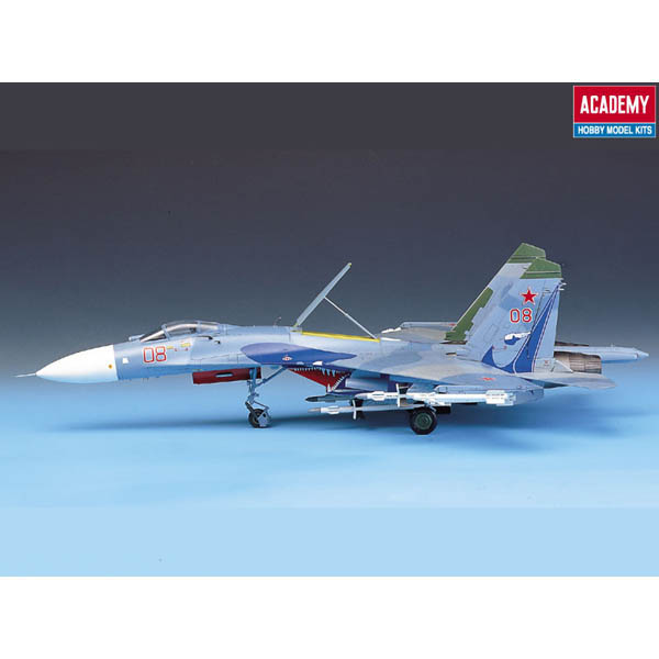 Academy 12270 1:48 Sukhoi SU-27 Flanker B This is an Academy 12270 1:48 Sukhoi SU-27 Flanker B. Markings included for one camouflaged aircraft. 120 parts in light blue and clear with delicate recessed panel lines. Photoetched stainless steel anti-FOD intake grilles and cockpit mirrors. Detailed landing gear with real PVC tires and separate plastic hubs. Cockpit detail: K-36 ejection seat raised instrument panel and console detail and control stick. Detailed wheel wells and optional position speed brake. Service History: Soviet Air Force and allies from mid 1980 s to present. Description: Single seat high performance fighter aircraft.Condition: Factory NewOperational Status: FunctionalThis item is brand new from the factory.Original Box: YesManufacturer: AcademyModel Number: 12270MSRP: $60.00Category 1: Model KitsCategory 2: 1:48 ScaleAvailability: Ships in 1 Business Day!The Trainz SKU for this item is P12060268. Track: 12060268 - S01 (Shelf)  - 001 - TrainzAuctionGroup00UNK - TDIDUNK