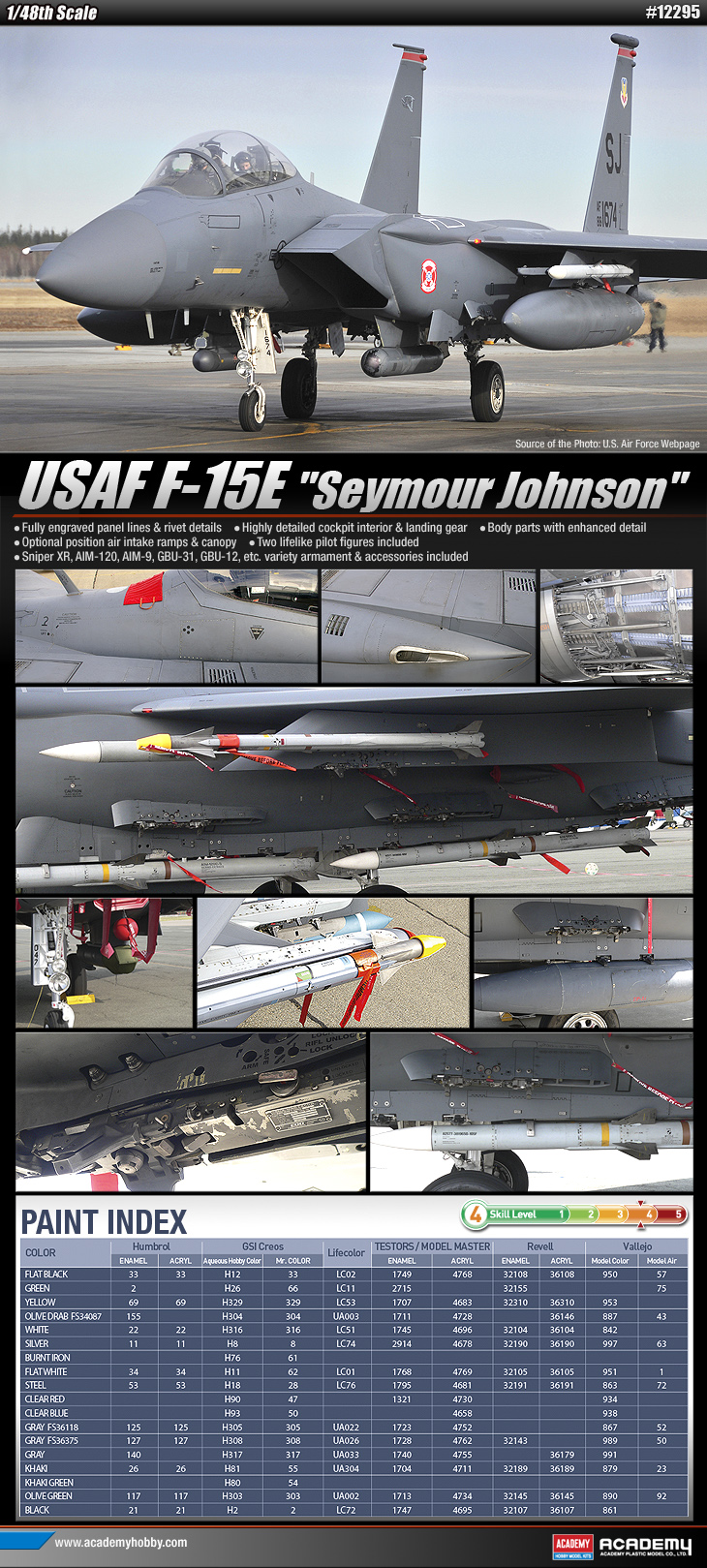 Academy 12295 1:48 F-15E Seymour Johnson USAF Fighter This is Academy 12295 1/48 F15E Seymour Johnson USAF Fighter. The F-15E was designed in the 1980s for long-range, high speed interdiction without relying on escort or electronic warfare aircraft. United States Air Force (USAF) F-15E Strike Eagles can be distinguished from other U.S. Eagle variants by darker camouflage and conformal fuel tanks mounted along the engine intakes. Two-seat all-weather long-range strike and ground-attack aircraft for the USAF. Its key features are: Fully engraved panel lines and rivet details Two highly detailed pilot figures included Optional position air intake ramps and canopy Sniper XR, AIM-120, AIM-9, GBU-31, GBU-12 and many more armament and accessories includedCondition: Factory NewOperational Status: FunctionalThis item is brand new from the factory.Original Box: YesManufacturer: AcademyModel Number: 12295MSRP: $56.00Category 1: Model KitsCategory 2: 1:48 ScaleAvailability: Ships in 1 Business Day!The Trainz SKU for this item is P11998276. Track: 11998276 - No Location Assigned - 001 - TrainzAuctionGroup00UNK - TDIDUNK