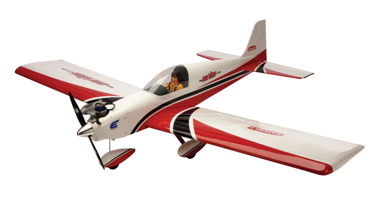 Hangar 9 5015 Meridian 10cc ARF This is Hangar 9 5015 Meridian 10cc ARF. The Hangar 9R Meridian 10cc ARF aircraft embodies the pure joy of what RC sport flying is about. From its long fuselage and stylishly shaped tail surfaces to the super stability of its generously proportioned constant-chord wing, every feature ties together. A perfect next-level sport airplane designed to have familiar forgiving manners, it appeals to the veteran and novice RC pilot. Its exceptional construction is lightweight without sacrificing strength or rigidity and is oversized just enough to deliver better visibility and great handling. In addition, its functional flaps add a level of capability that complements the ease and grace in which this low-wing model performs sport aerobatics and smooth landings. The Meridian model shines when powered with the EvolutionR 10cc gas engine. Besides the thrilling experience this engine offers, youfll enjoy the ease of use and reliability that outclasses the hassles and expense of using glow fuel. Because the Evolution 10cc gas engine is so economical, youfll carry less fuel in the airplane, which means less weight for the same amount of flight time. Its key features are: Designed to fit the EvolutionR 10cc gas engine Flaps for expanded flight envelope Tricycle landing gear Covered in genuine UltraCoteR covering Landing gear attached to fuselage Large top fuselage hatch for easy access to radio gear and EP battery Pre-painted fiberglass cowl and wheel pants EP-ready Two-piece plug-in wings Preinstalled pilot figure and instrument panel Needed to complete: 4-Stroke Glow Radio Equipment 2-stroke Gas Electric Setup Common Radio Equipment: - 5+ channel transmitter and receiver radio system - Receiver pack - Charge switch - Standard servos (7) Gas Setup: - 10cc 2-stroke gas engine - Muffler - Propeller - Starter battery - Fuel - Fuel tubing Electric Setup: - 46-size motor - Speed controller - Flight battery - Charger for flight battery - PropellerConditio