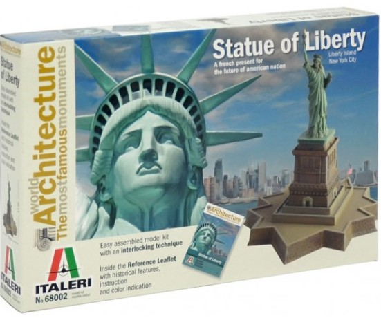 Italeri 68002 Statue of Liberty This is an Italeri 68002 Statue of Liberty. This features 100% New Moulds, Easy assembled model kit with an interlocking technique, Inside the Reference Leaflet with historical features, instruction and color indication, and The box includes also the plastic parts for realizing the statue and Reference Leaflet. The Statue of Liberty (Liberty Enlightening the World) is a colossal neoclassical sculpture on Liberty Island in New York Harbor in New York City, in the United States. The copper statue, designed by Frédéric Auguste Bartholdi, a French sculptor, was built by Gustave Eiffel and dedicated on October 28, 1886. It was a gift to the United States from the people of France. The statue is of a robed female figure representing Libertas, the Roman goddess, who bears a torch and a tabula ansata (a tablet evoking the law) upon which is inscribed the date of the American Declaration of Independence, July 4, 1776. A broken chain lies at her feet. The statue is an icon of freedom and of the United States, and was a welcoming sight to immigrants arriving from abroad. This is Skill: 1, Model Dimensions: 15 x 17cm, and Box Dimensions: 290 x 190 x 45mm.Condition: Factory NewOperational Status: FunctionalThis item is brand new from the factory.Original Box: YesManufacturer: ItaleriModel Number: 68002MSRP: $24.99Category 1: Other ToysCategory 2: Model KitsAvailability: Ships in 3 to 5 Business Days.The Trainz SKU for this item is P12171371. Track: 12171371 - FS - 001 - TrainzAuctionGroup00UNK - TDIDUNK