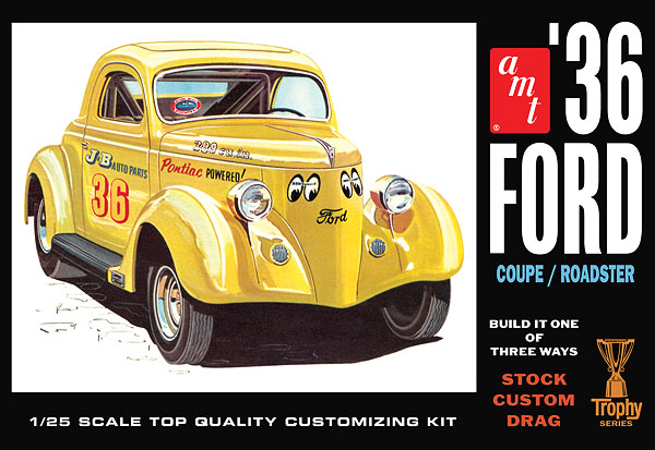 AMT 824 1:25  1936 Ford Coupe  Trophy Series  Plastic Model Kit This is AMT 824 1:25 '36 FORD COUPE. 1936 Ford Coupe. The Kats at AMT have restored the 1936 Ford tooling back to a specialized rendition of the 3-window coupe! It Features BOTH stock and chopped 3-window body options, roadster parts, chrome reverse wheels, fender skirts, customizing options and more. It's a special Retro Deluxe reissue that includes all the best parts from the first and second issues of this modelers' favorite kit. Its key features are: Molded in white Build stock, custom or racing Many vintage parts not available in decades have been restored TWO roof options: chopped and stock height Chrome reversed wheels Factory pre-decorated whitewall tires Fender skirts Retro Deluxe packaging Expanded original decal sheet Newly tooled parts! Skill Level: 2 (ages 10 and up) Glue assembly, paint requiredCondition: Factory NewOperational Status: FunctionalThis item is brand new from the factory.Original Box: YesManufacturer: AMTModel Number: 824MSRP: $31.29Category 1: Other ToysCategory 2: Model KitsAvailability: Ships in 1 Business Day!The Trainz SKU for this item is P11978361. Track: 11978361 - No Location Assigned - 001 - TrainzAuctionGroup00UNK - TDIDUNK